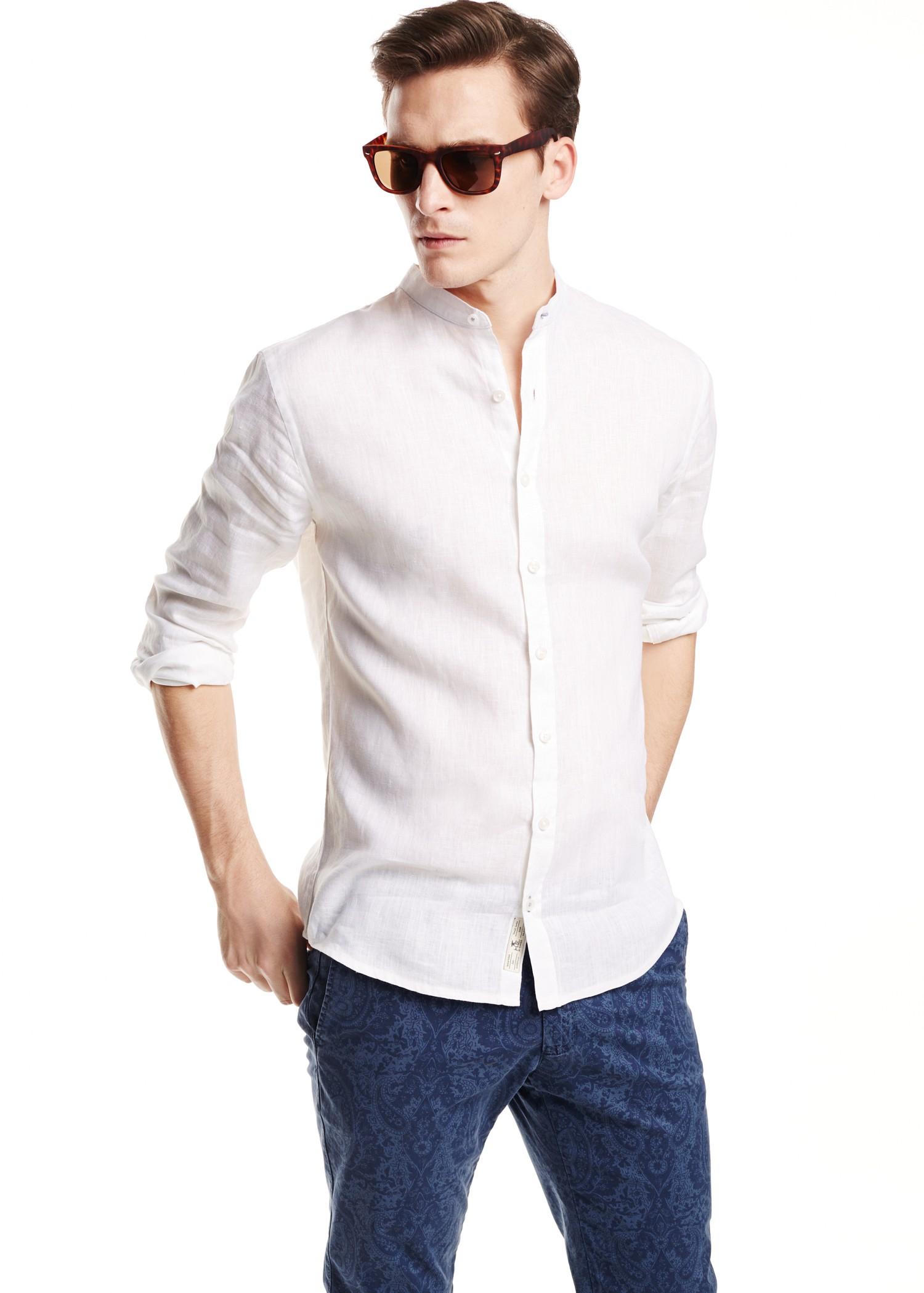 24564ec0fa84 Lyst - Mango Slimfit Mao Collar Linen Shirt in White for Men