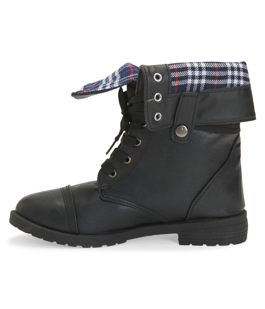 blue suede shoes plaid foldover combat boot in black lyst