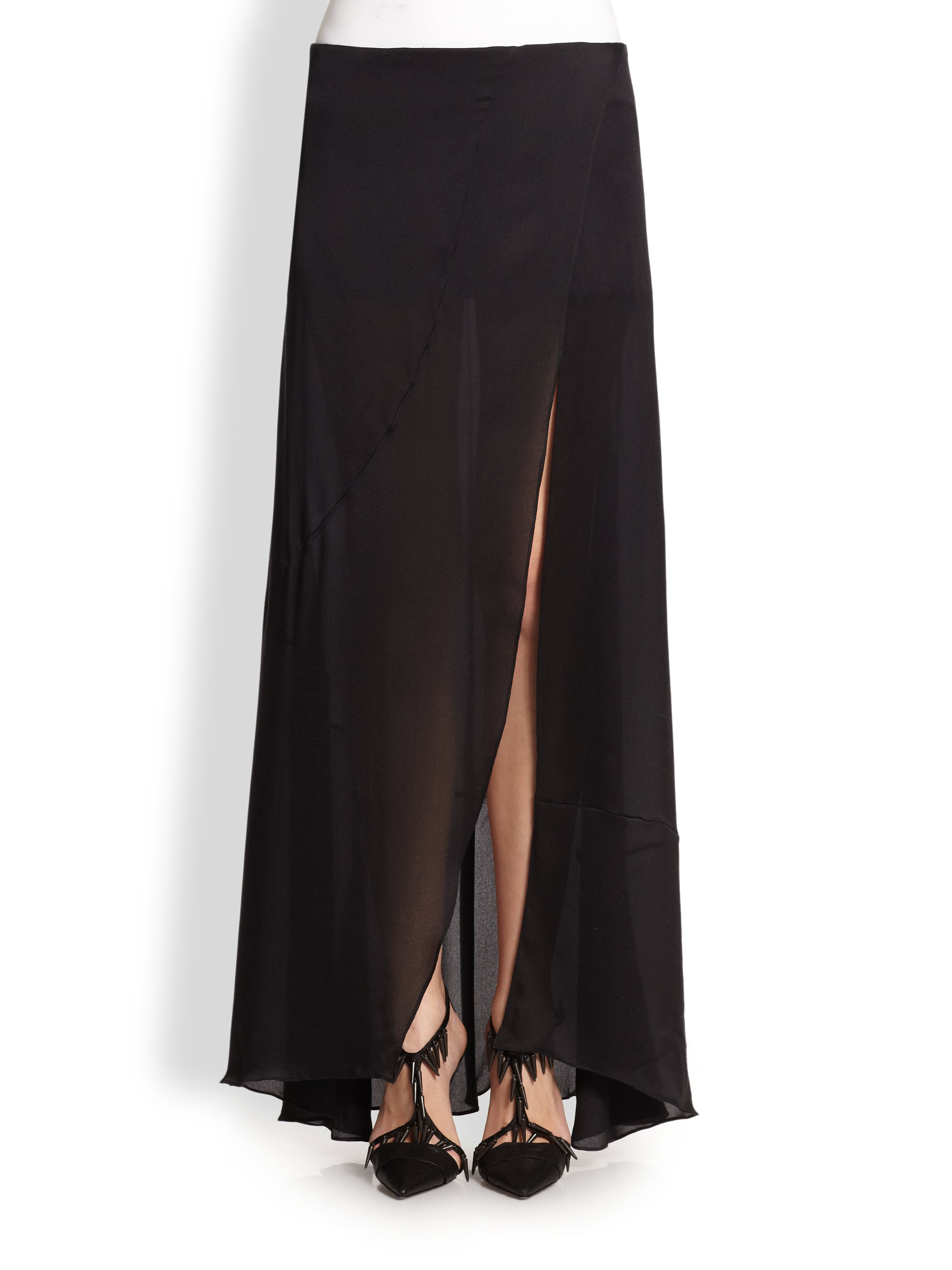 Narciso rodriguez Silk Satin Maxi Skirt in Black | Lyst