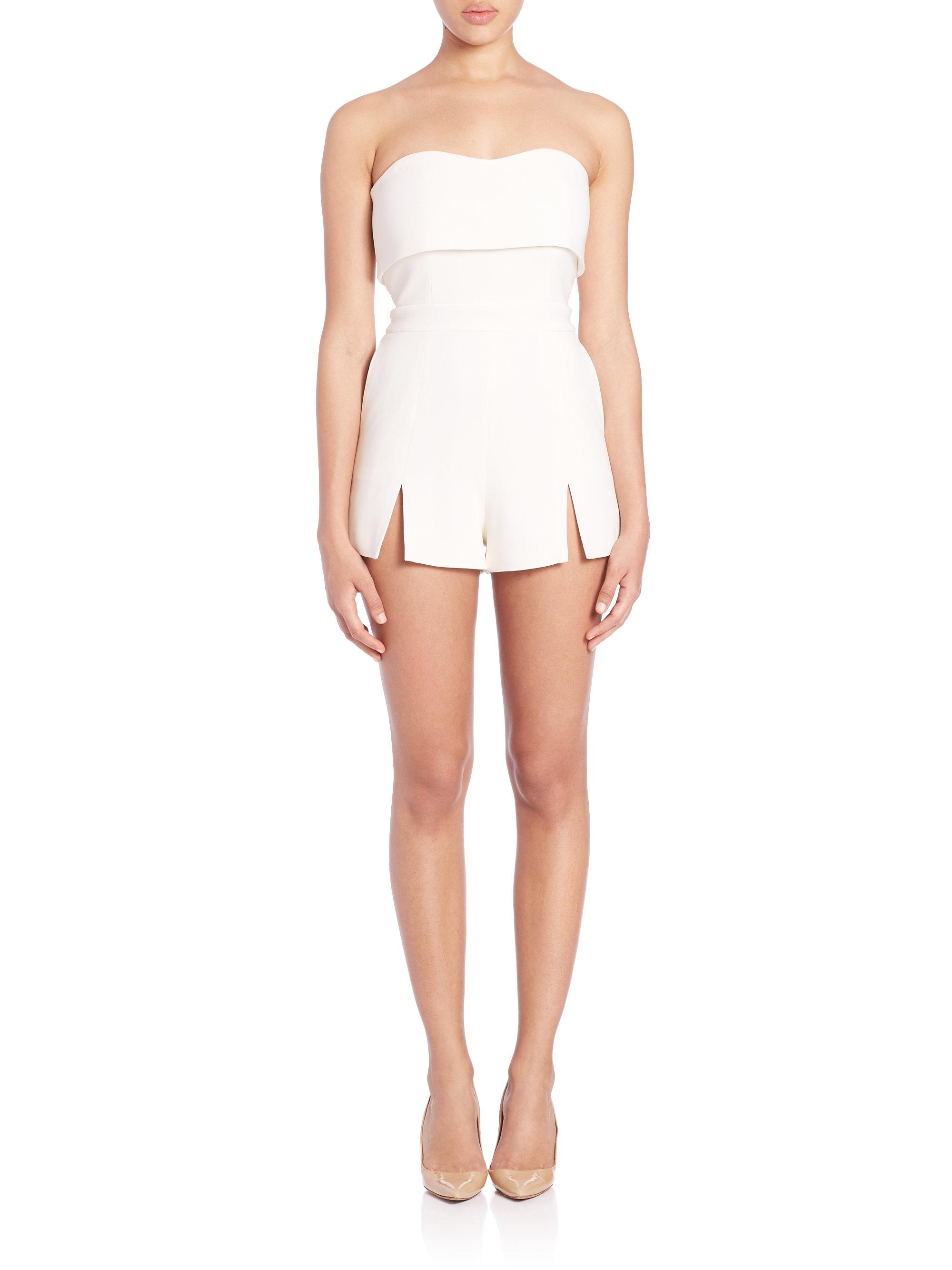Kia Of Bradley >> Alexis Kia Strapless Short Jumpsuit in White | Lyst