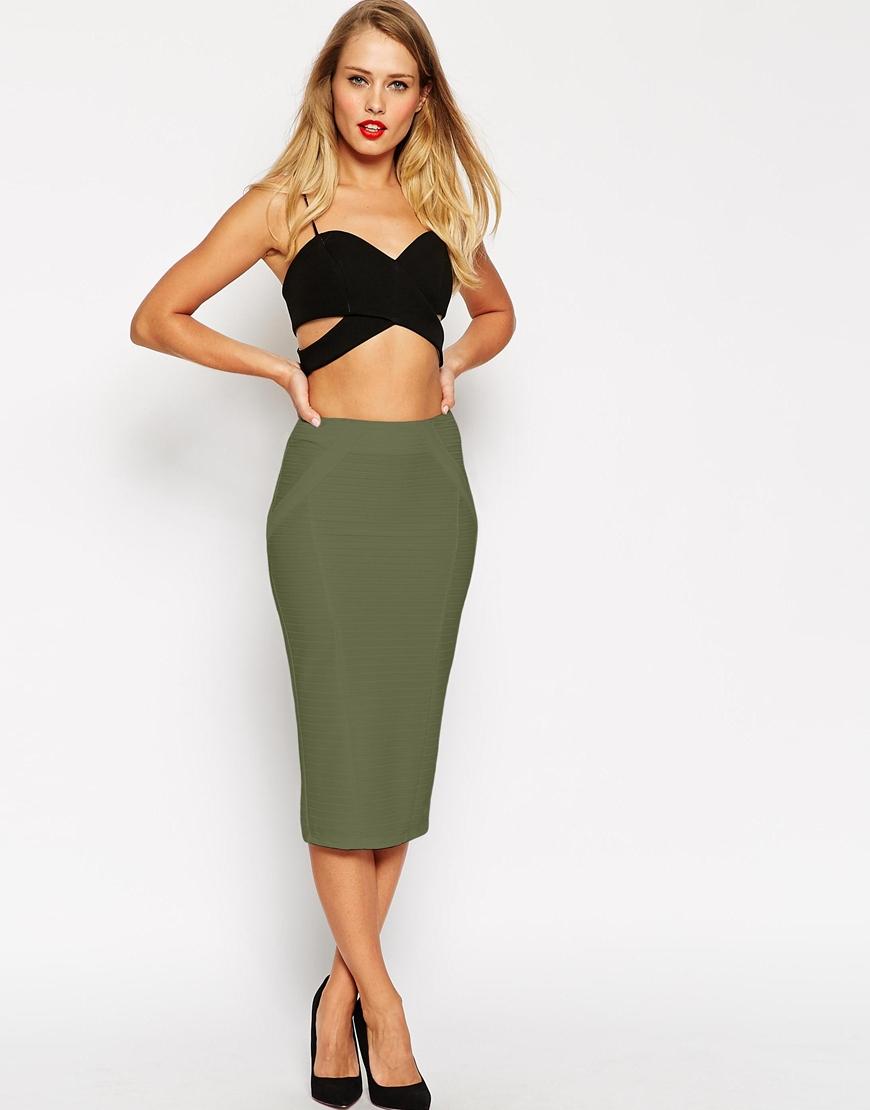 Asos Midi Pencil Skirt In Bandage Rib in Natural | Lyst