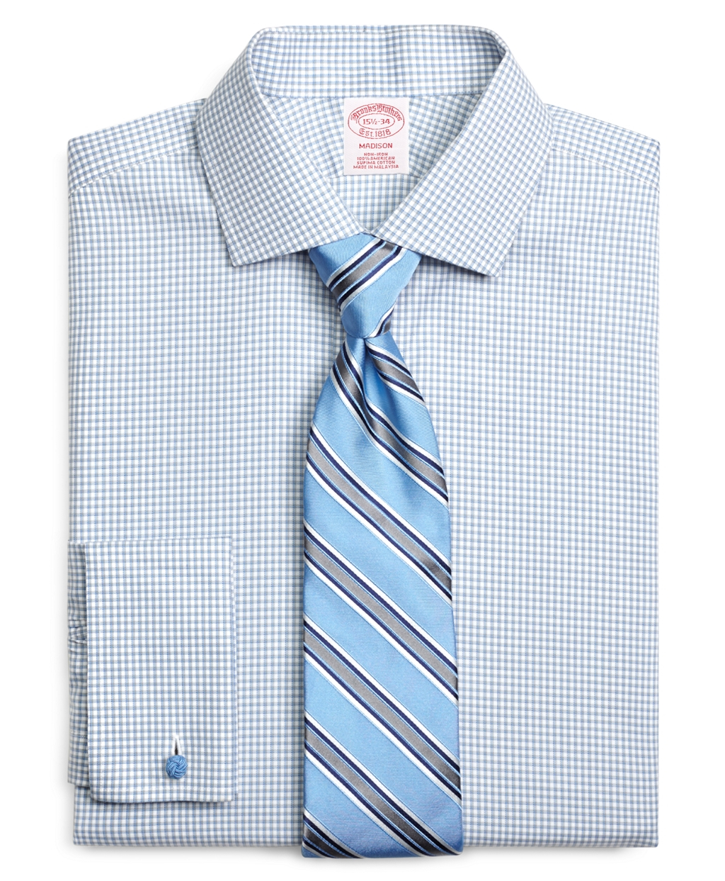 Brooks brothers non iron regent fit shadow check french for Light blue french cuff dress shirt