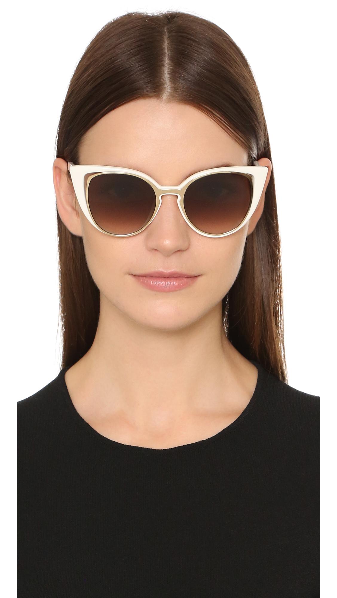 5ea1a21e3ed Lyst - Fendi Cutout Cat Eye Sunglasses - Gold White brown Shade in ...