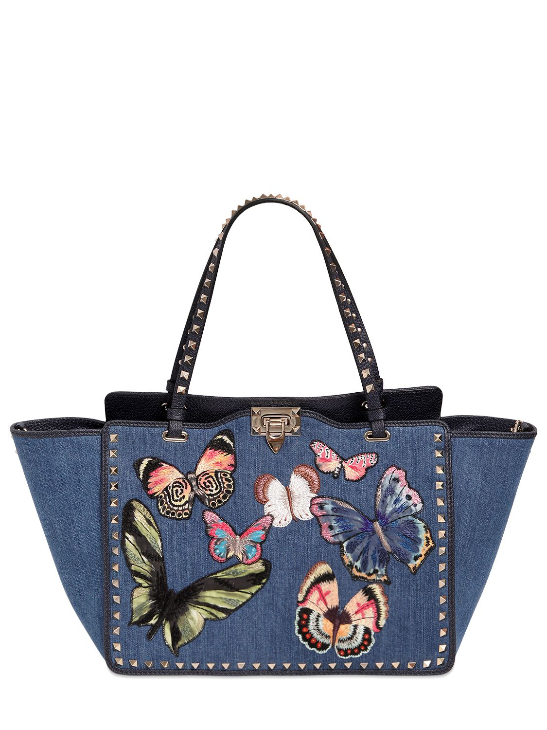 Valentino rockstud butterfly embroidered denim bag in