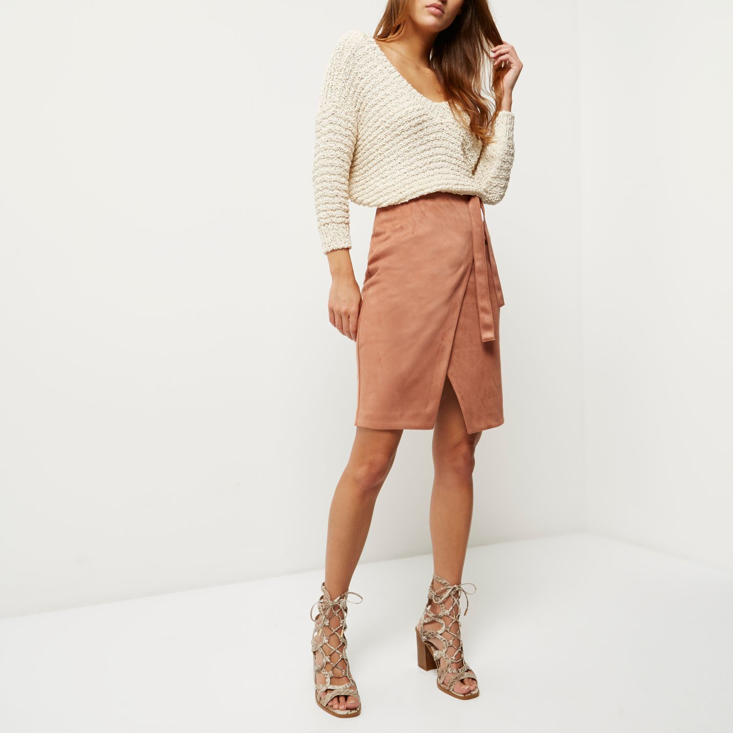 River island Brown Faux Suede Wrap Skirt in Brown | Lyst