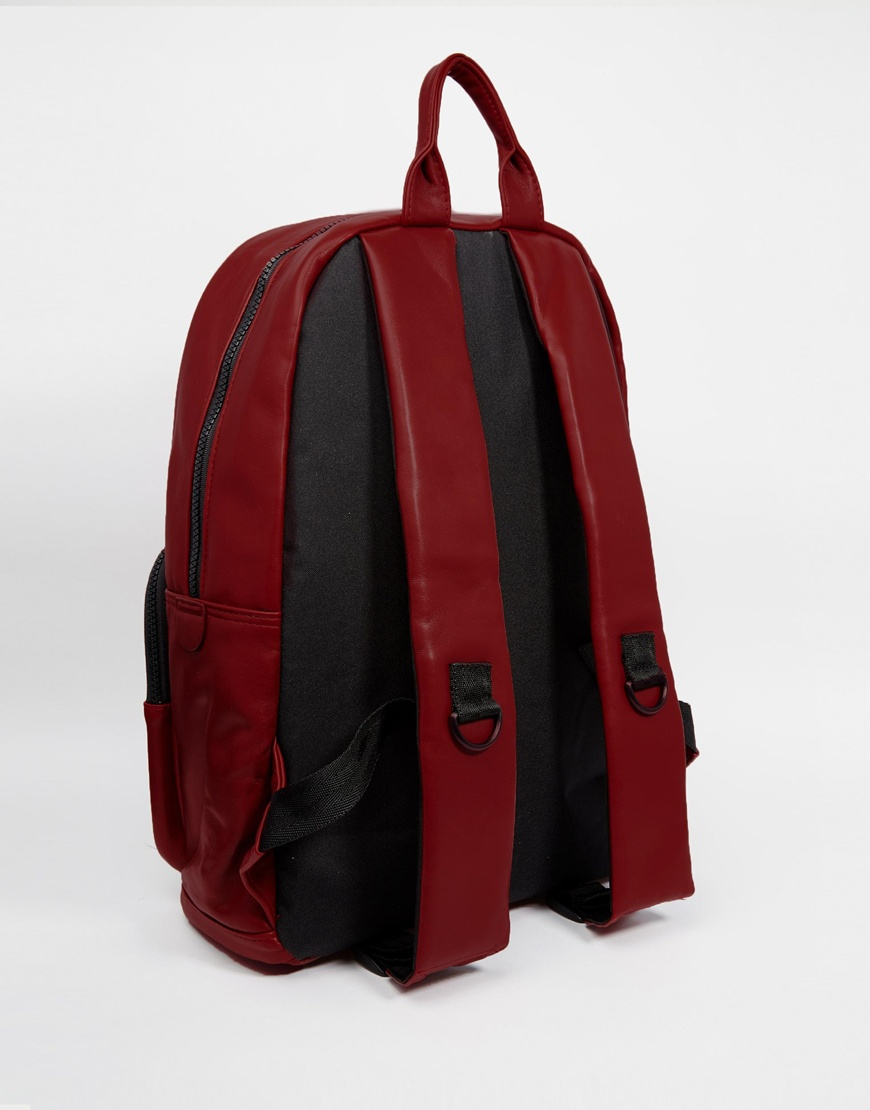 Lyst - Asos Backpack In Red Faux Leather in Red for Men