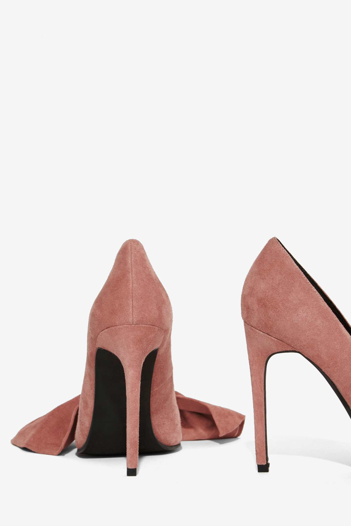 3487acce3a3 Lyst - Jeffrey Campbell Grandame Suede Bow Pump - Dusty Rose in Pink