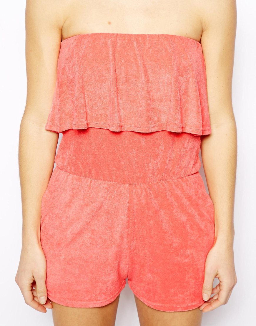 ba55c7a01d Lyst - ASOS Frill Bandeau Towelling Beach Playsuit in Orange