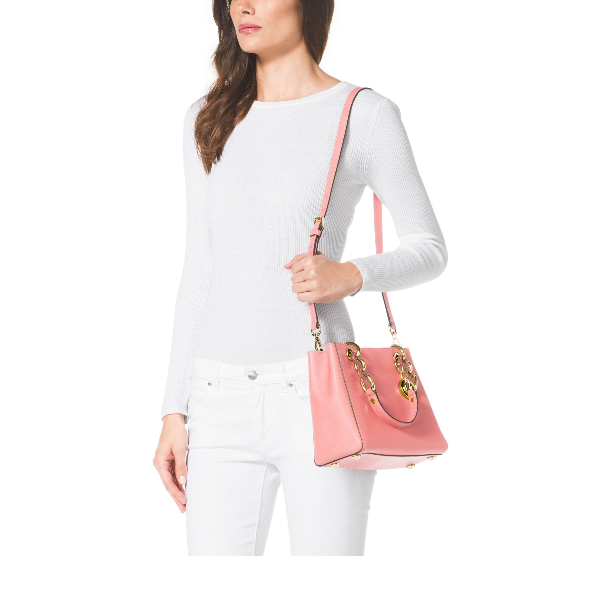 a00b1307f0a063 Michael Kors Cynthia Small Leather Satchel in Pink - Lyst