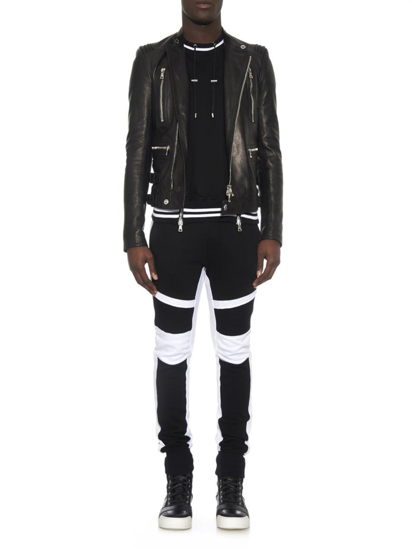 Balmain Bi-Colour Terry-Towelling Track Pants in Black for ...