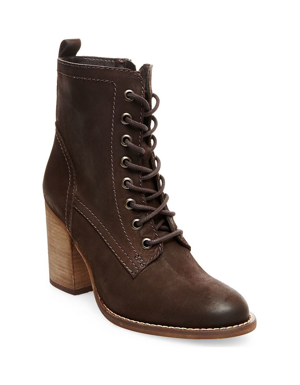 steve madden lauuren leather ankle boots in brown lyst. Black Bedroom Furniture Sets. Home Design Ideas