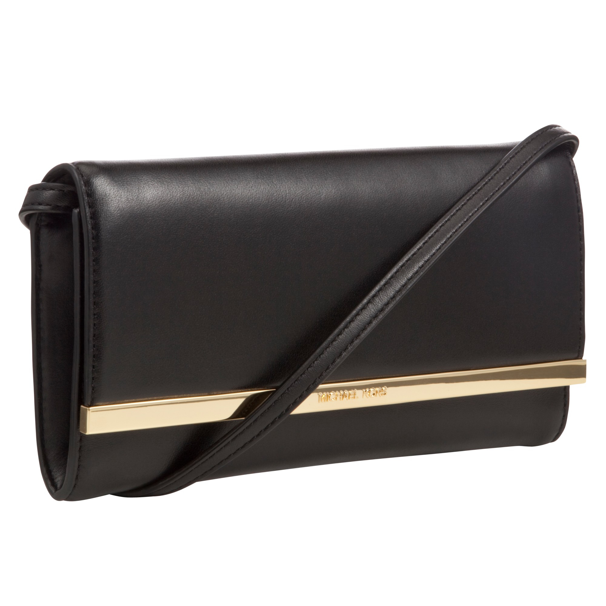 3b99bb5aa586a Womens Michael By Michael Kors Lana ... Lana Envelope Black Leather Clutch  Lana Envelope Clutch Bag