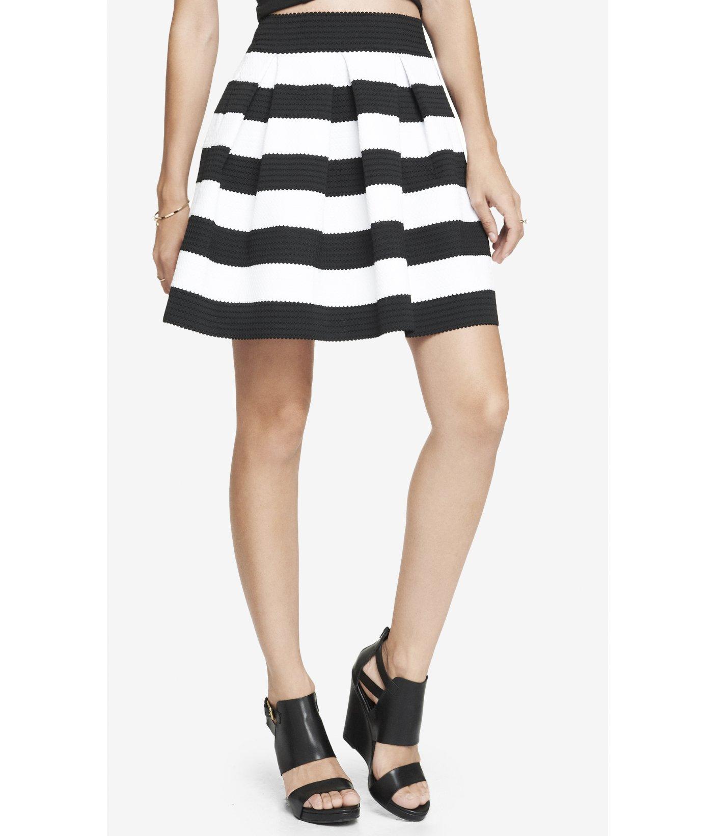 Express High Waist Elastic Stripe Full Skirt in Black | Lyst
