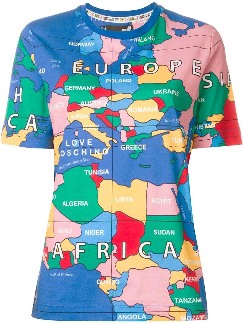 bb0209395c4c1e Love Moschino World Map Print T-shirt in Blue - Lyst