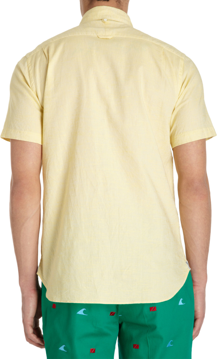 Lyst Thom Grey Short Sleeve Button Front Shirt In Yellow