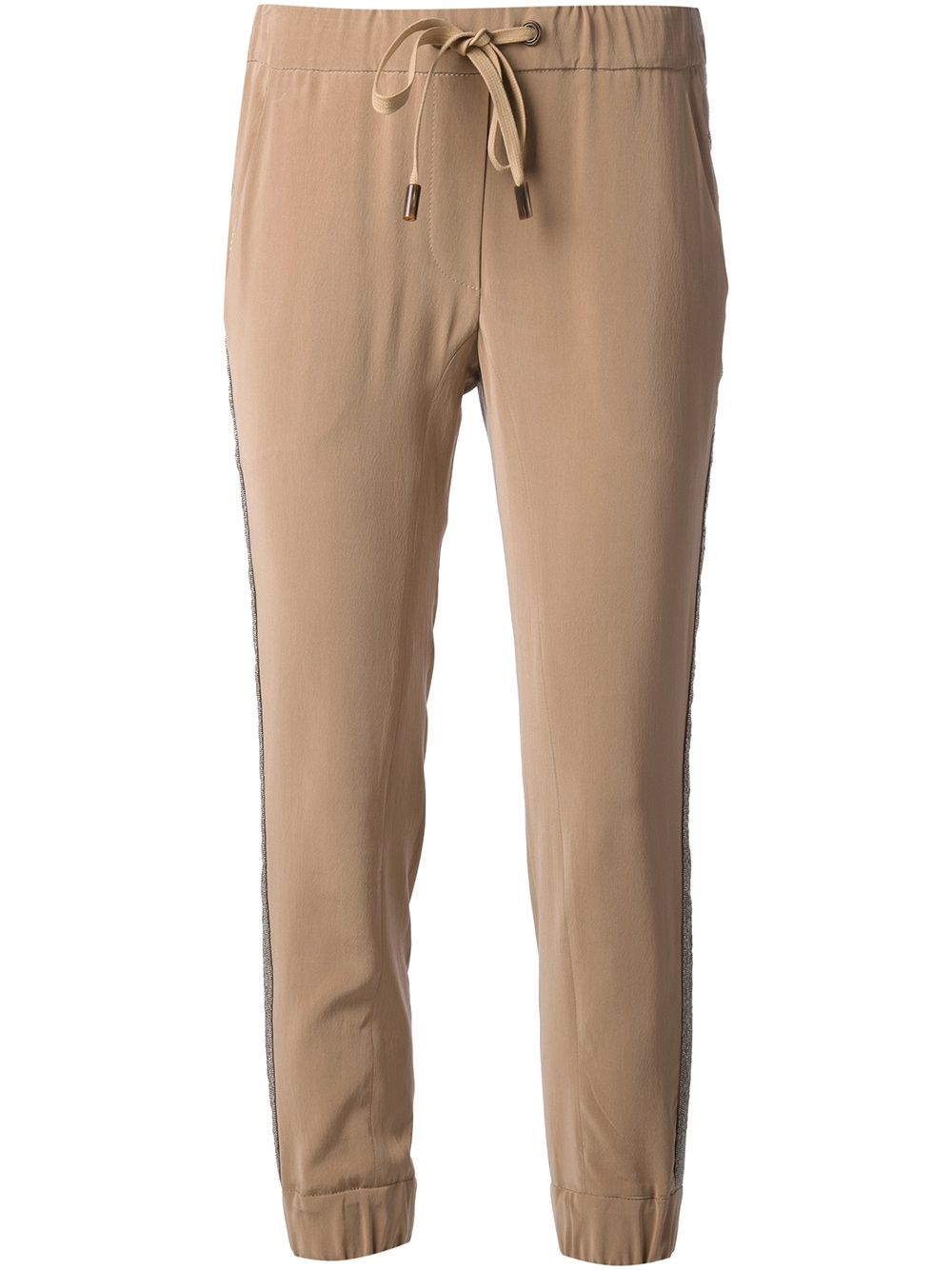 Brunello Cucinelli Cropped Drawstring Trousers In Brown Lyst