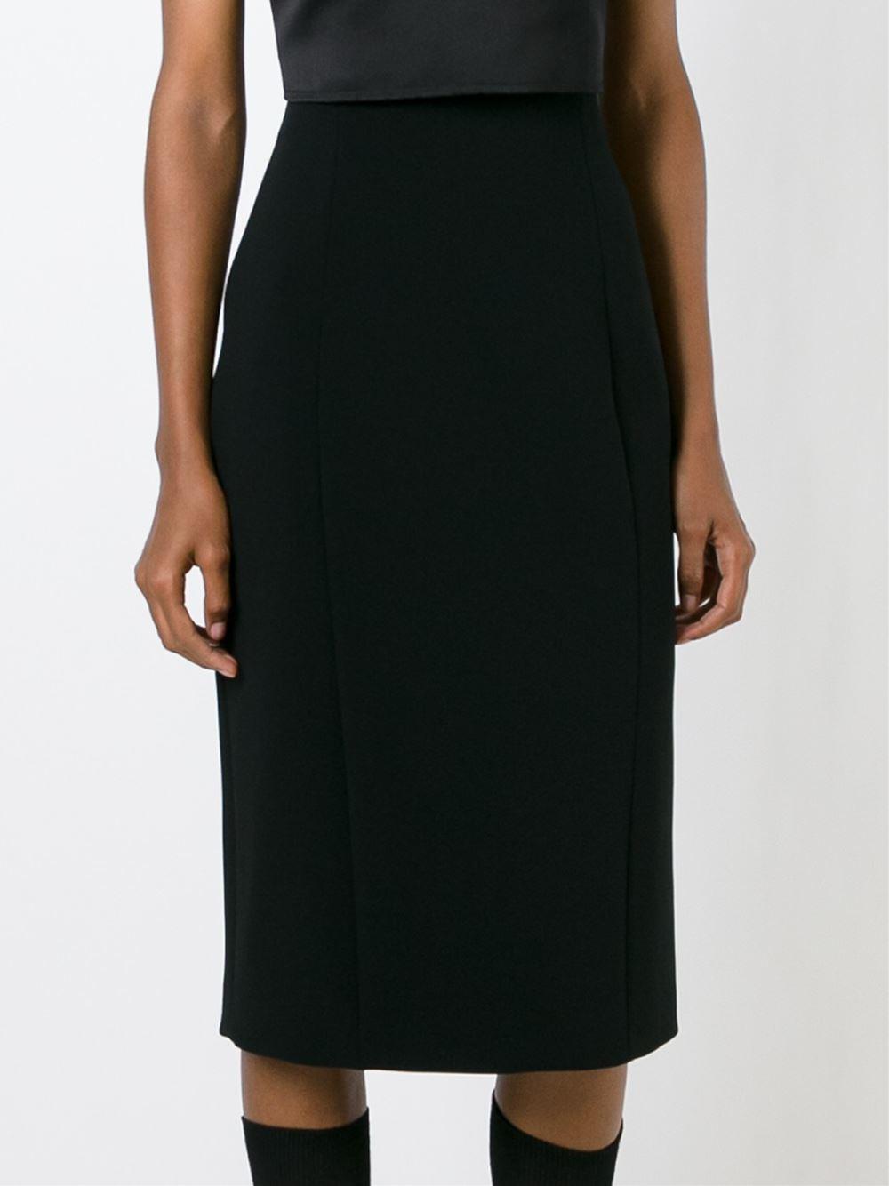 neil barrett midi pencil skirt in black lyst