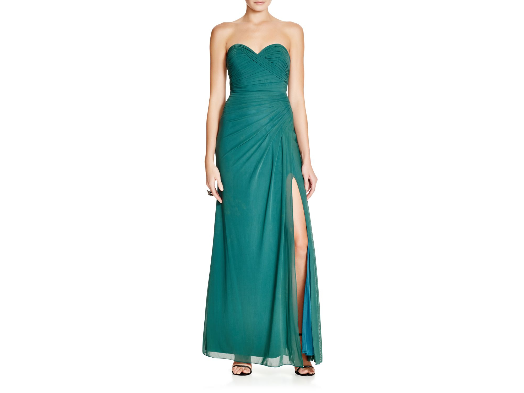 Lyst - La Femme Draped Strapless Gown in Green