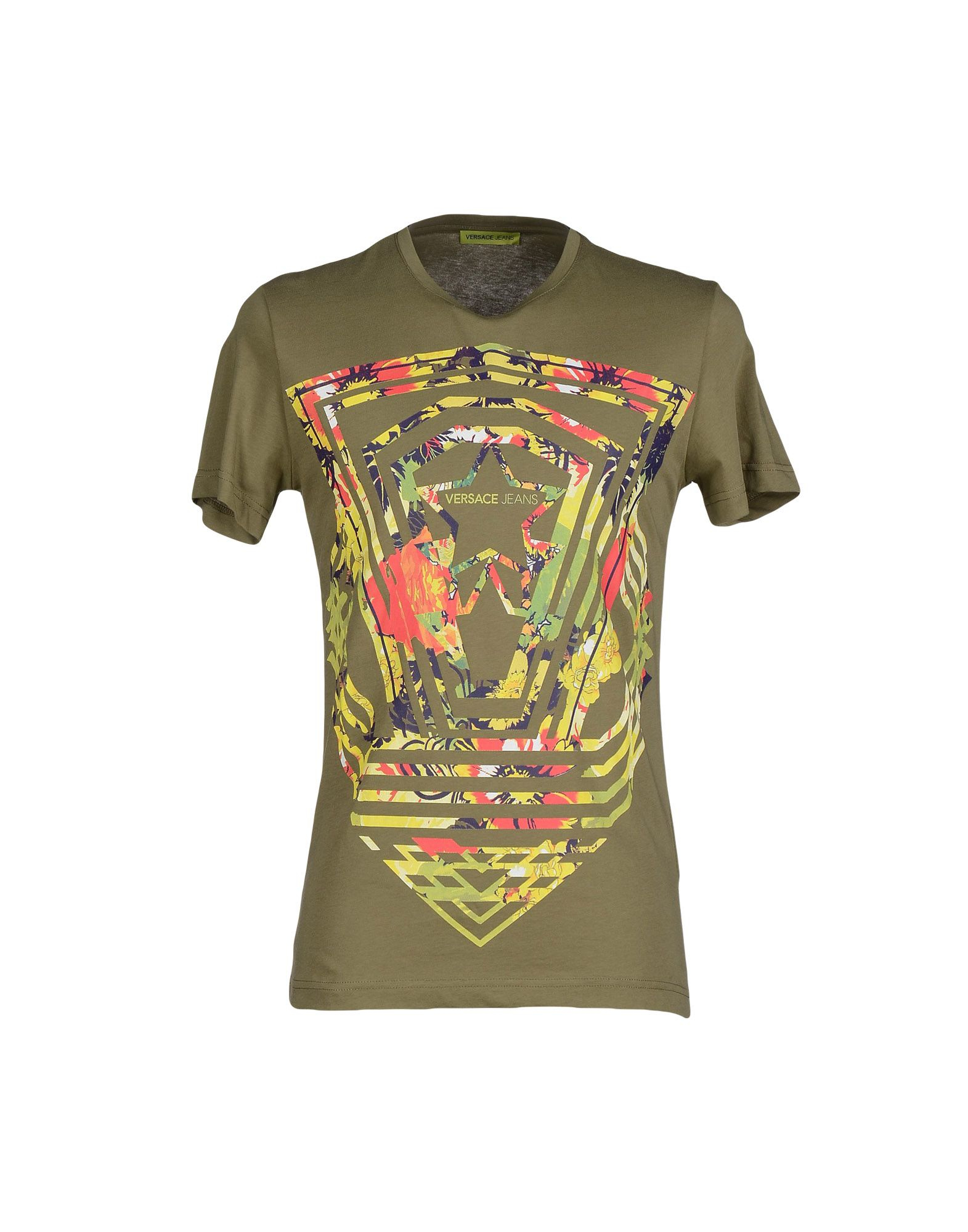 versace t shirt in green for lyst