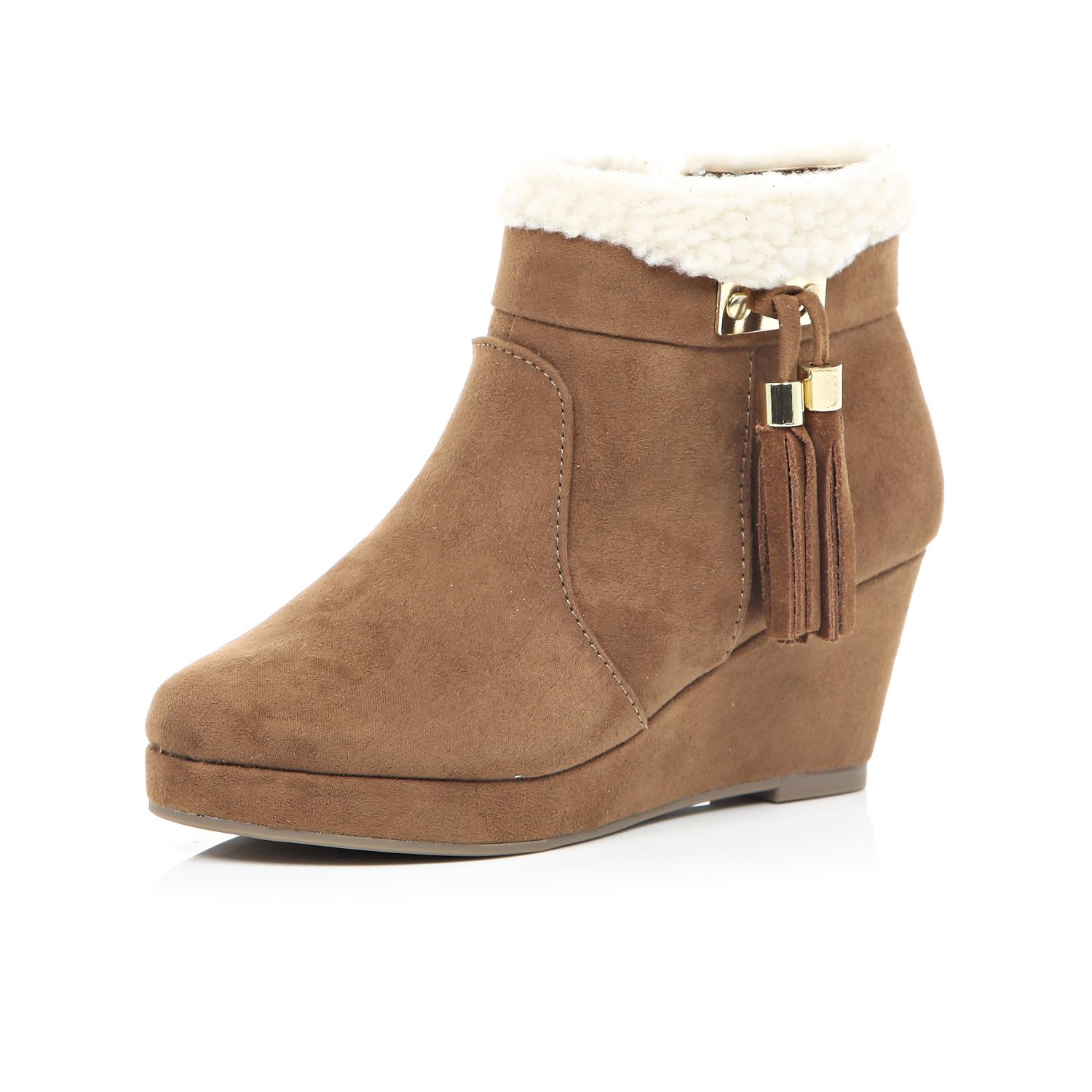 River island Girls Brown Wedge Tassel Boots in Brown | Lyst