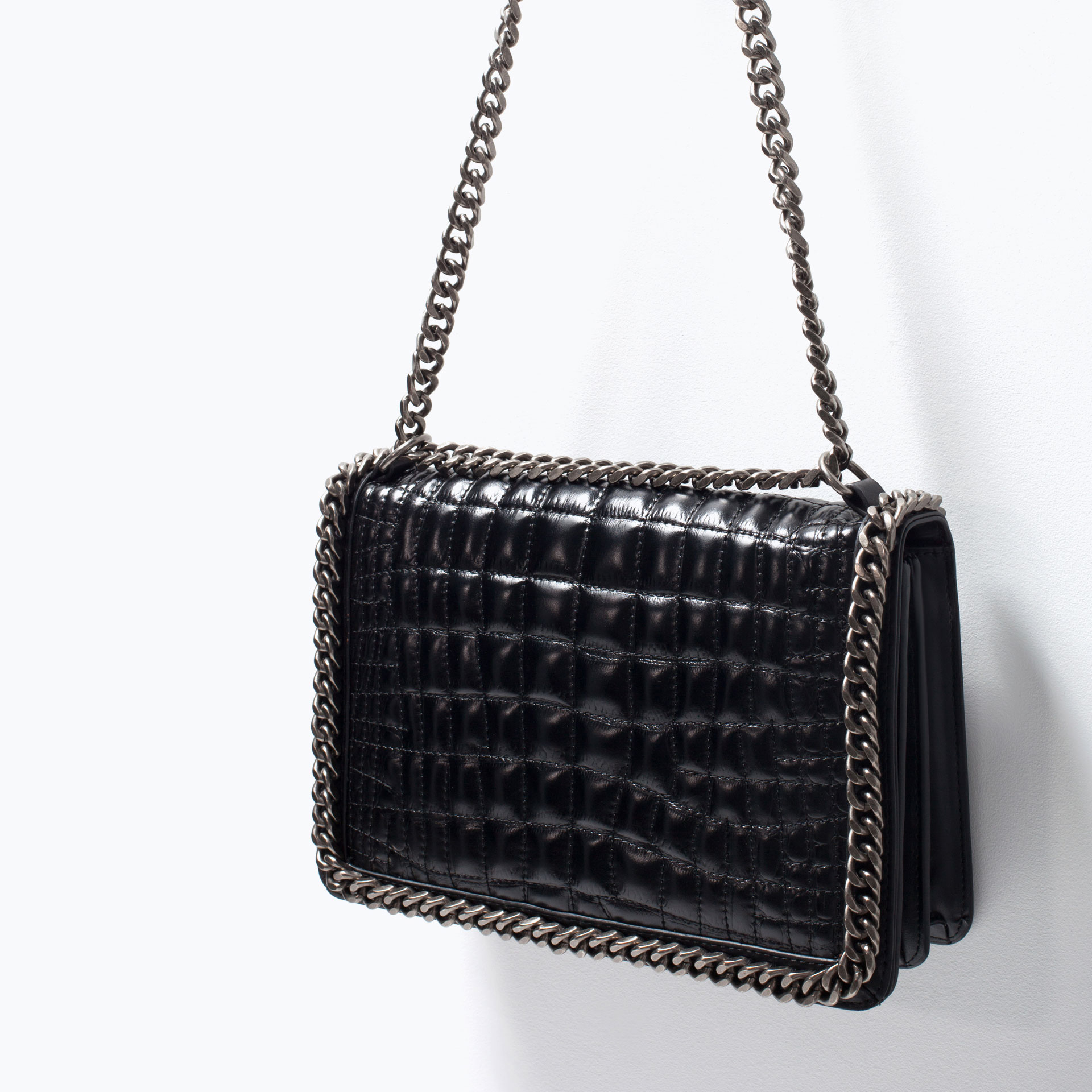 Zara City Chain Trimmed Shoulder Bag In Black Lyst