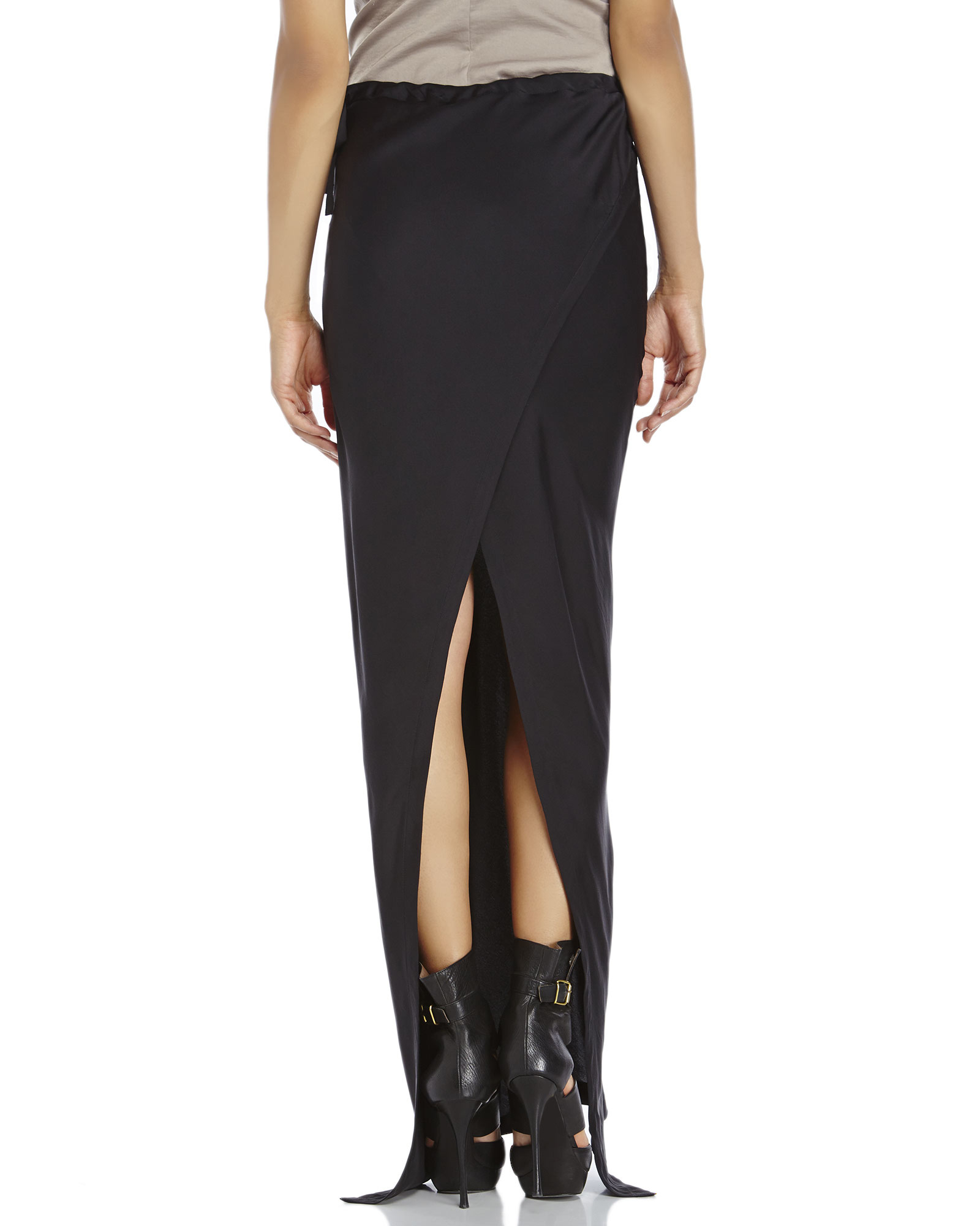 Ann demeulemeester Black Silk Maxi Skirt in Black | Lyst