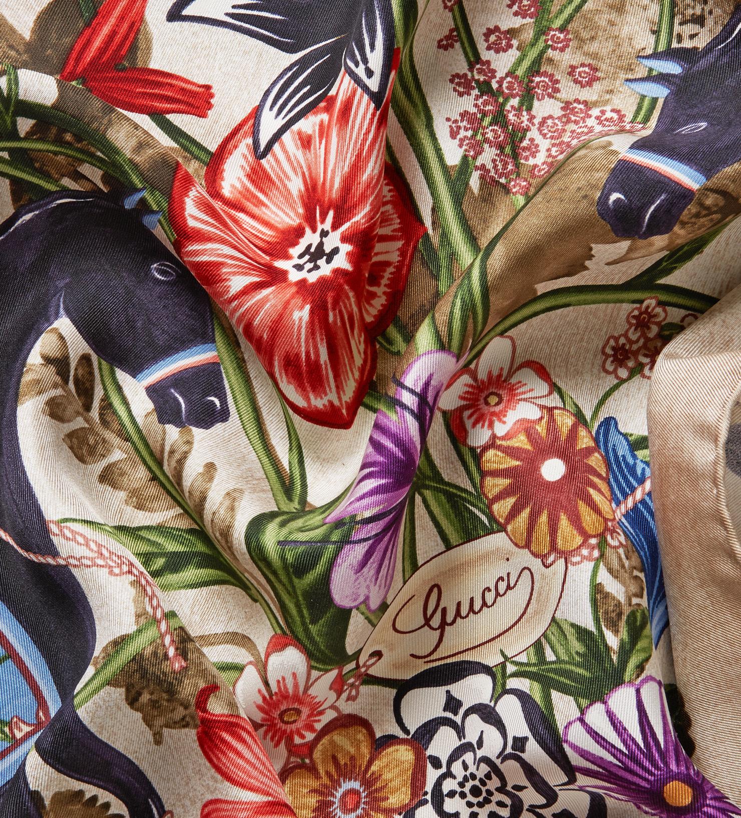 Floral-print silk-twill scarf Gucci iIhi8e