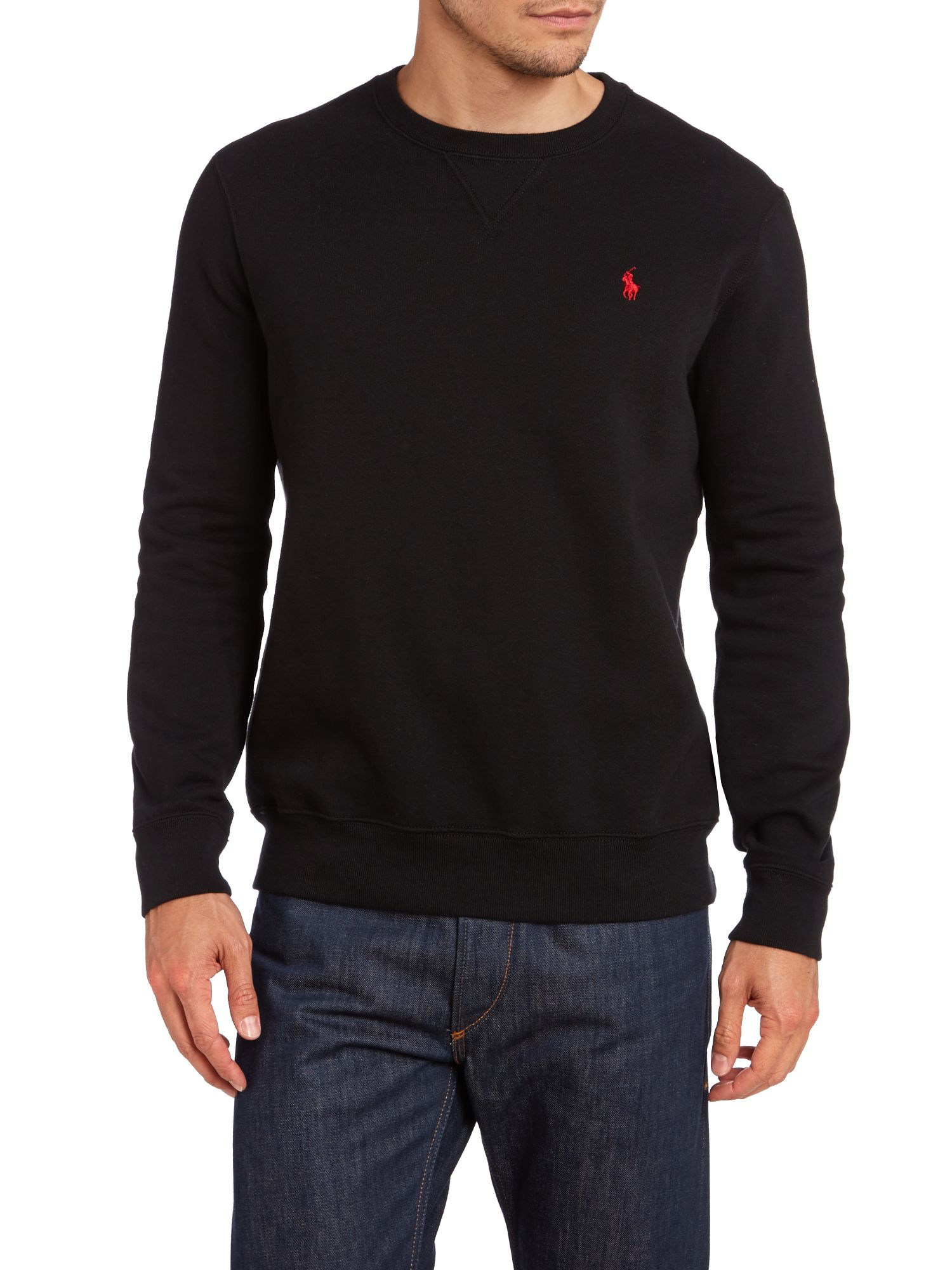 polo ralph lauren crew neck sweatshirt in black for men lyst. Black Bedroom Furniture Sets. Home Design Ideas