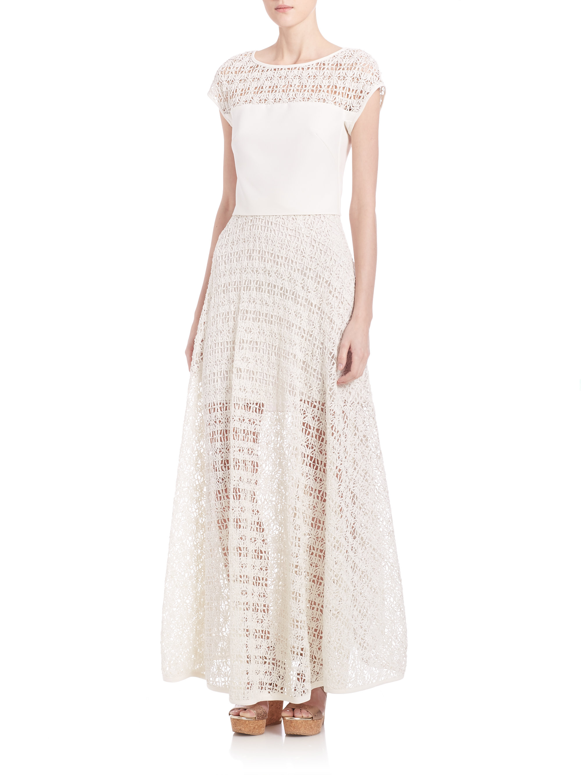 milly raffia net maxi skirt in white lyst