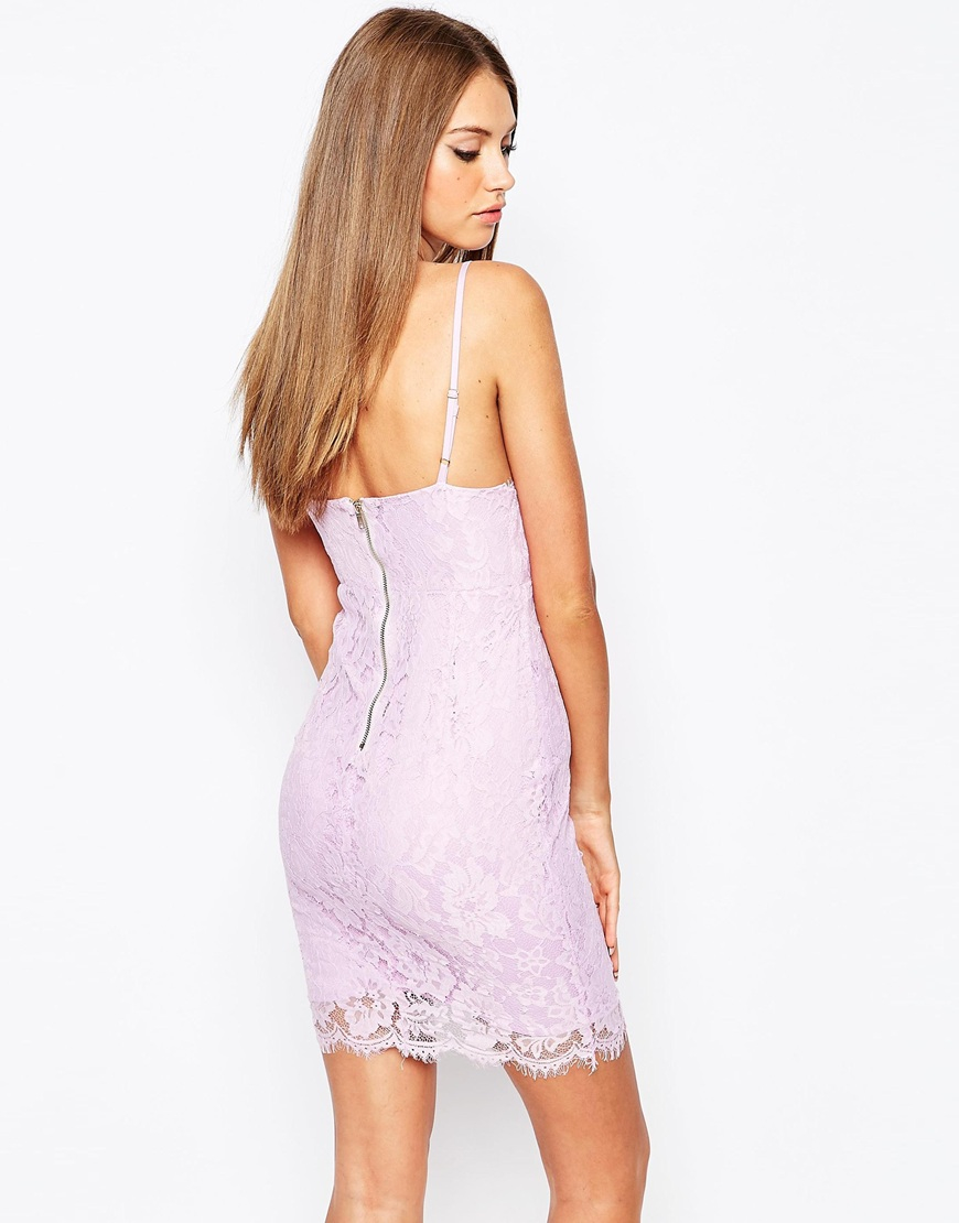 7566fefb77f7 Lyst - Missguided Lace Strappy Bodycon Dress in Purple