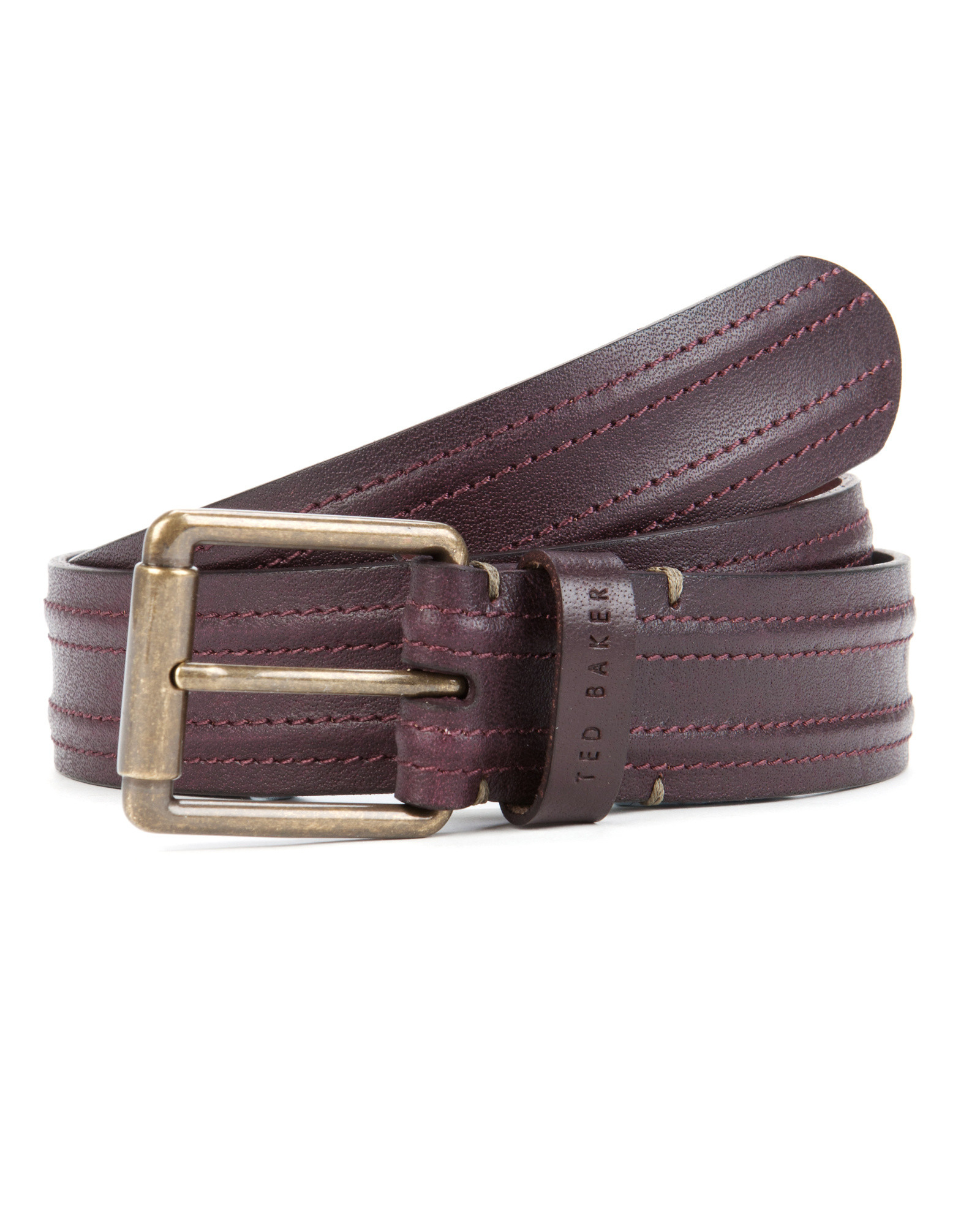 ted baker stitched leather belt in purple for oxblood