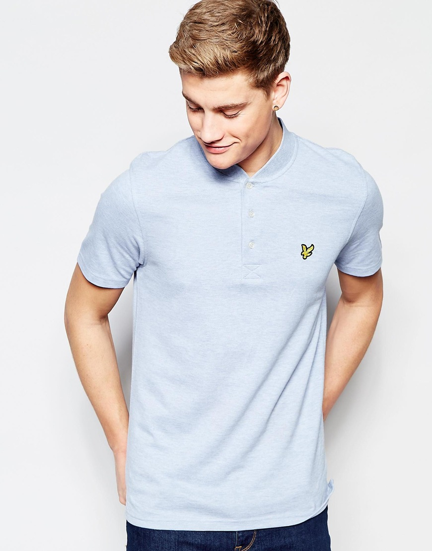 Lyle Scott Polo Shirt With Bomber Collar In Blue For Men Ampamp Red Gallery