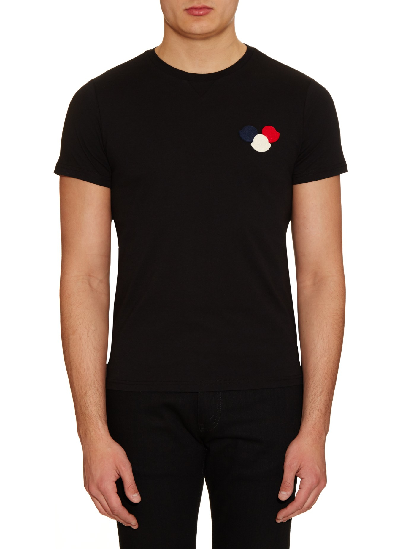lyst moncler logo appliqu cotton t shirt in black for men. Black Bedroom Furniture Sets. Home Design Ideas