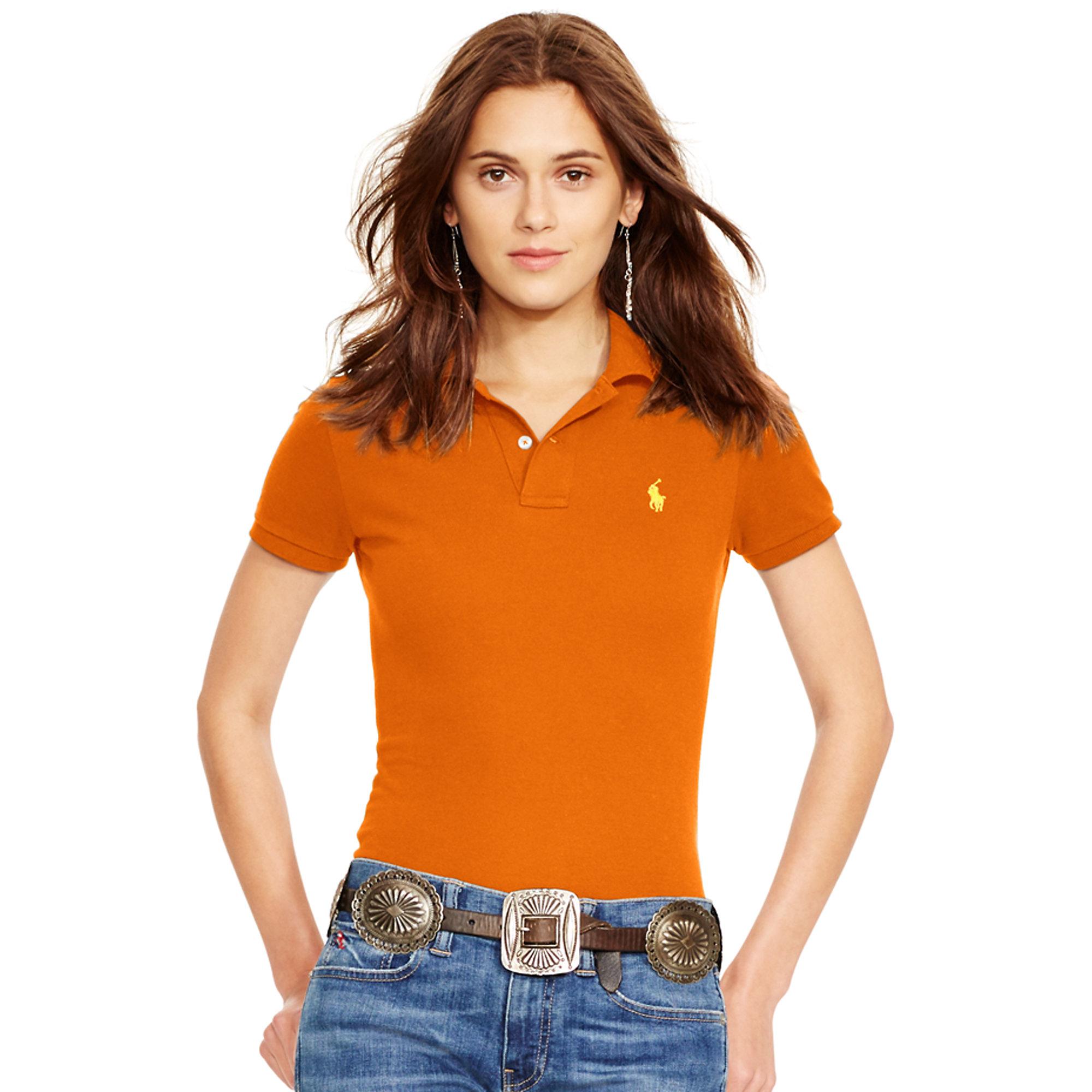 Lyst - Polo Ralph Lauren Skinny-fit Polo Shirt in Orange 6e70feefe9ba