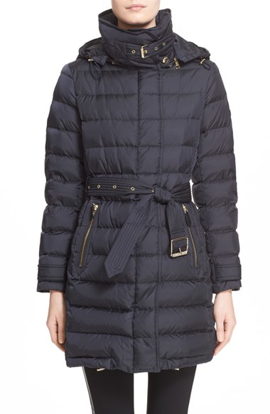 Lyst - Burberry Brit 'winterleigh' Belted Down Coat in Blue