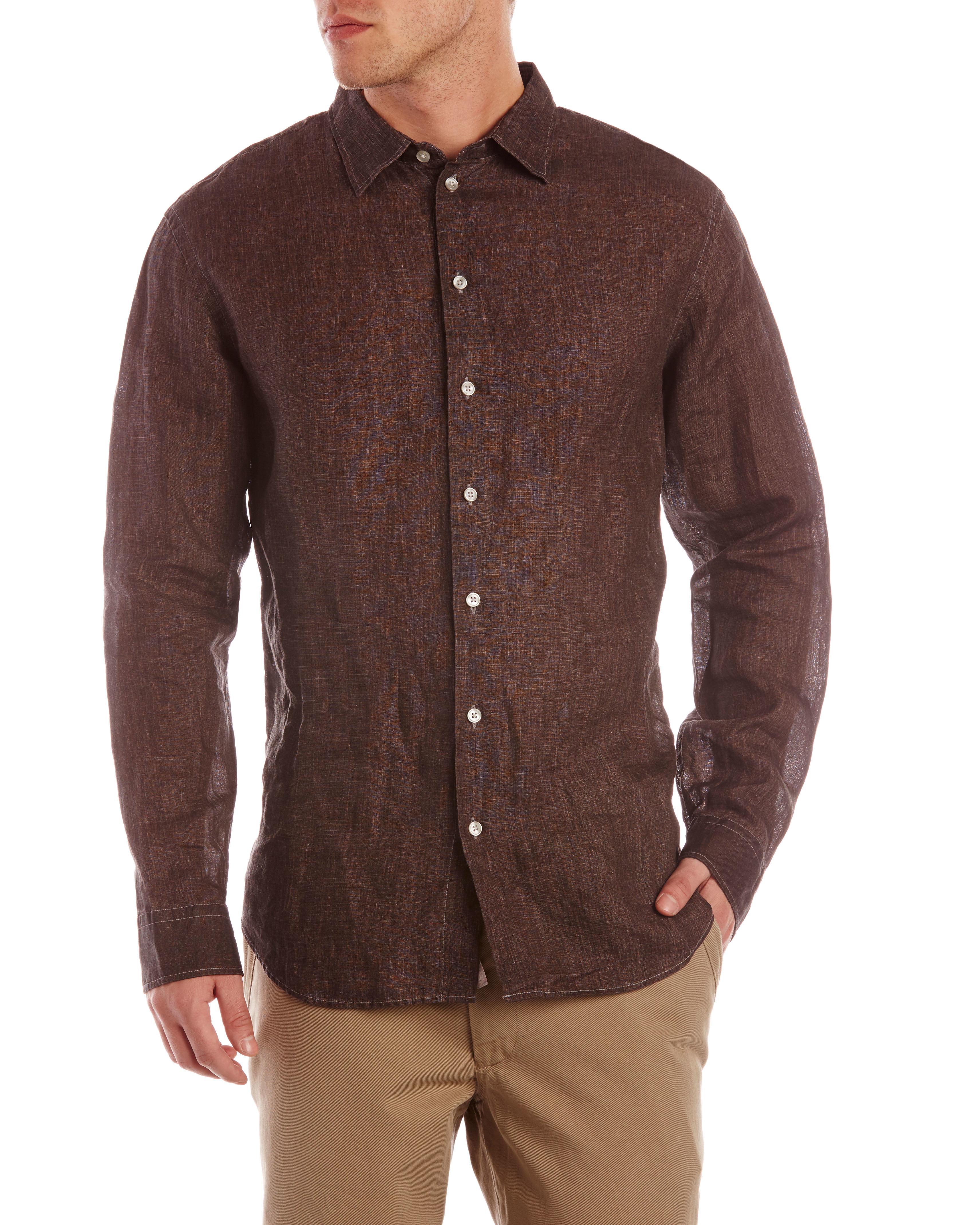 Armani Brown Linen Sport Shirt in Brown for Men | Lyst
