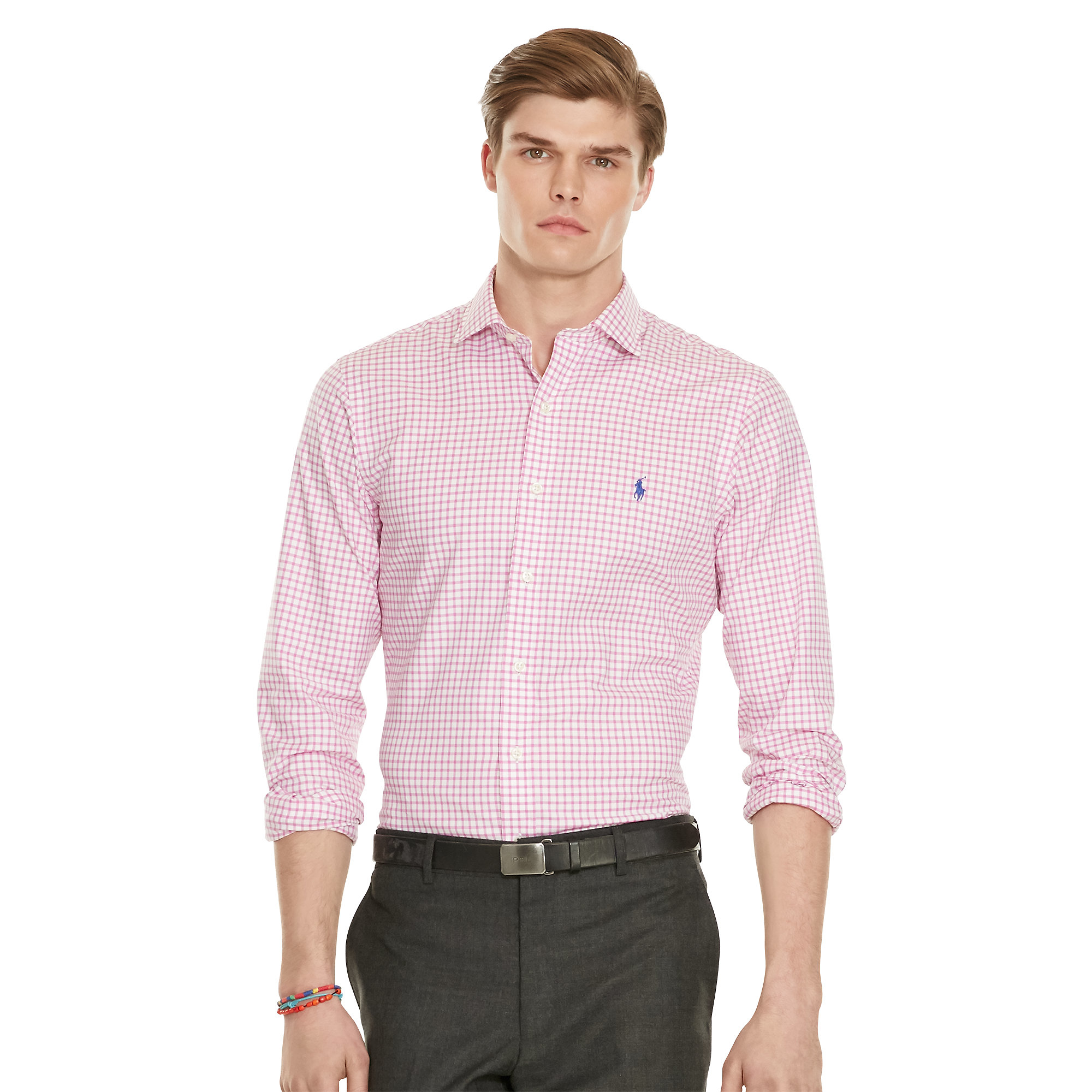 $99 RYAN SEACREST Men SLIM-FIT PINK LONG-SLEEVE BUTTON DRESS SHIRT SIZE 18 34/35 See more like this Lauren Ralph Lauren Dress Shirt Mens Slim Fit .