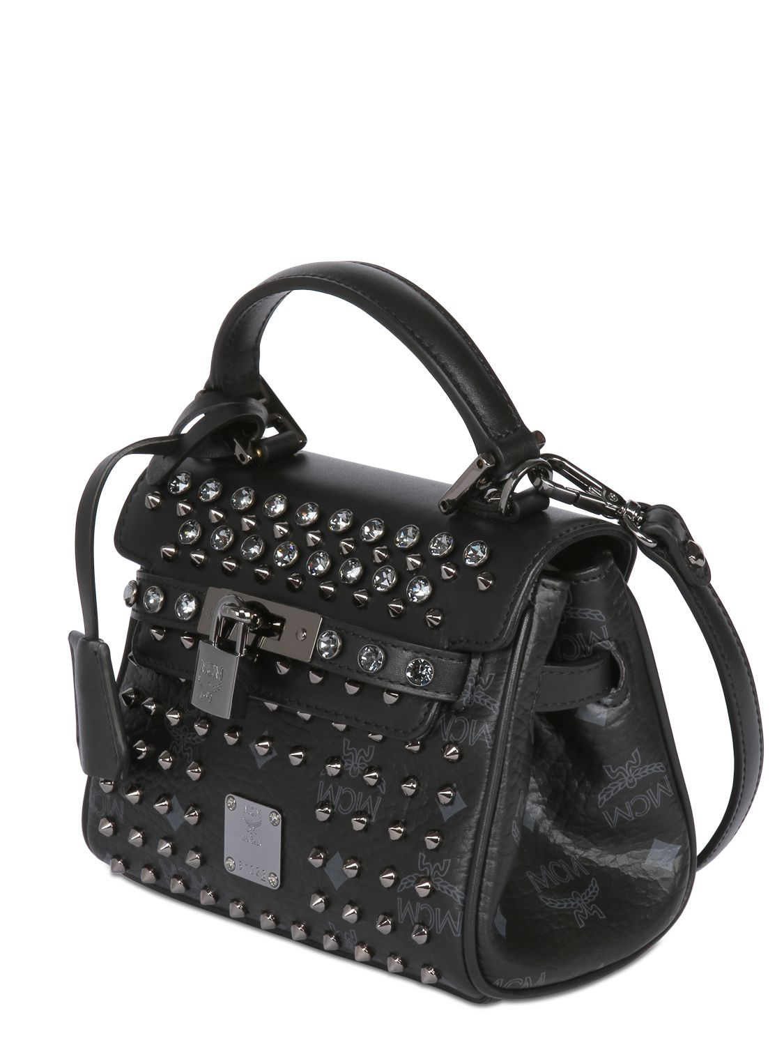 Mcm Studded Faux Leather Shoulder Bag in Black | Lyst
