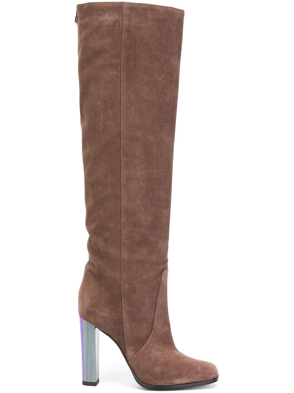 pollini knee length suede and leather boots in brown lyst