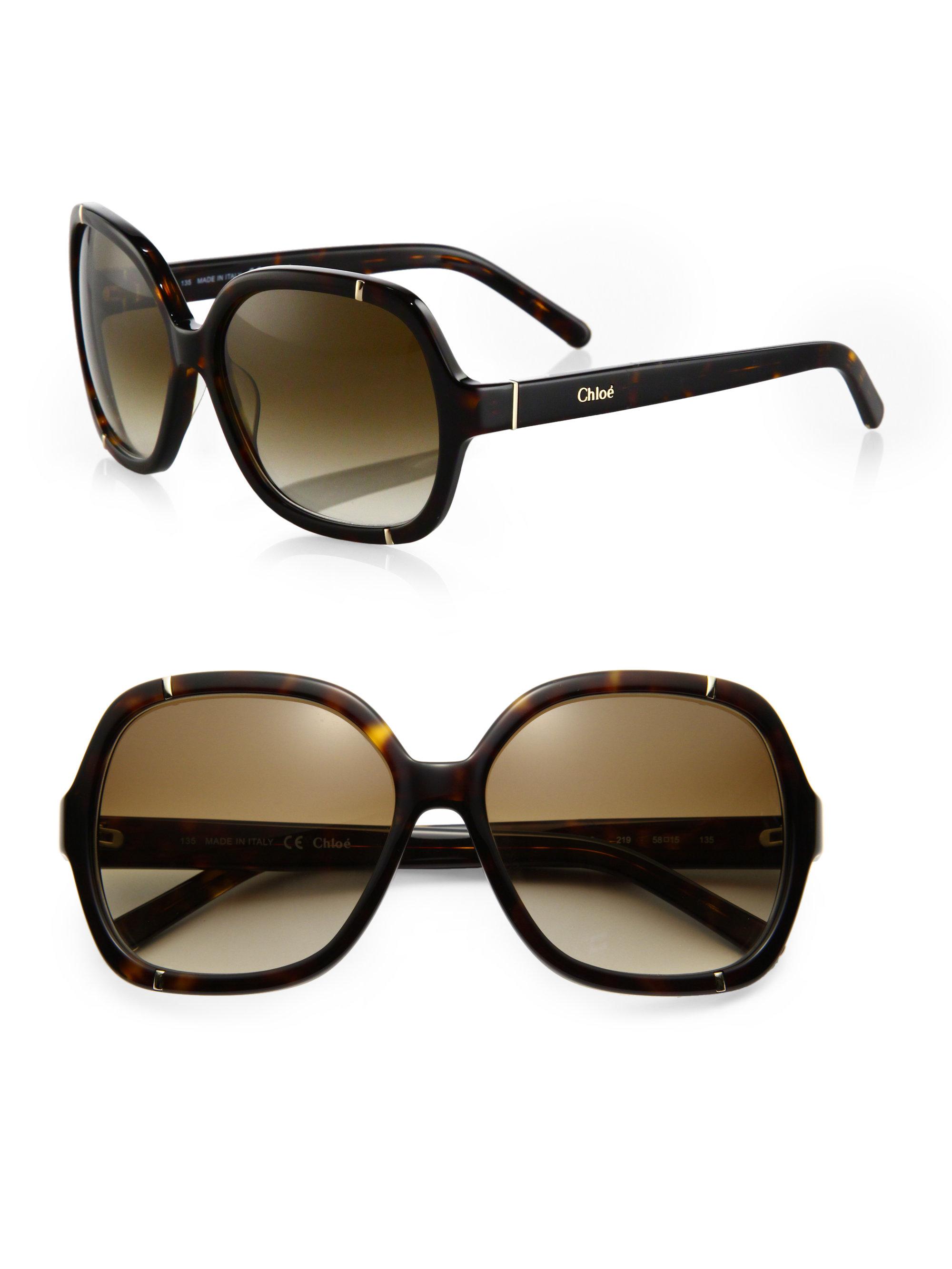 e48620c1172 Lyst - Chloé Hexagonal Sunglasses in Red