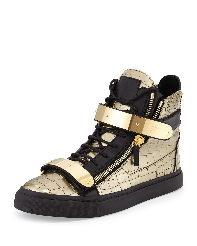 giuseppe zanotti mens faux croc high top sneaker in black for men gold lyst. Black Bedroom Furniture Sets. Home Design Ideas