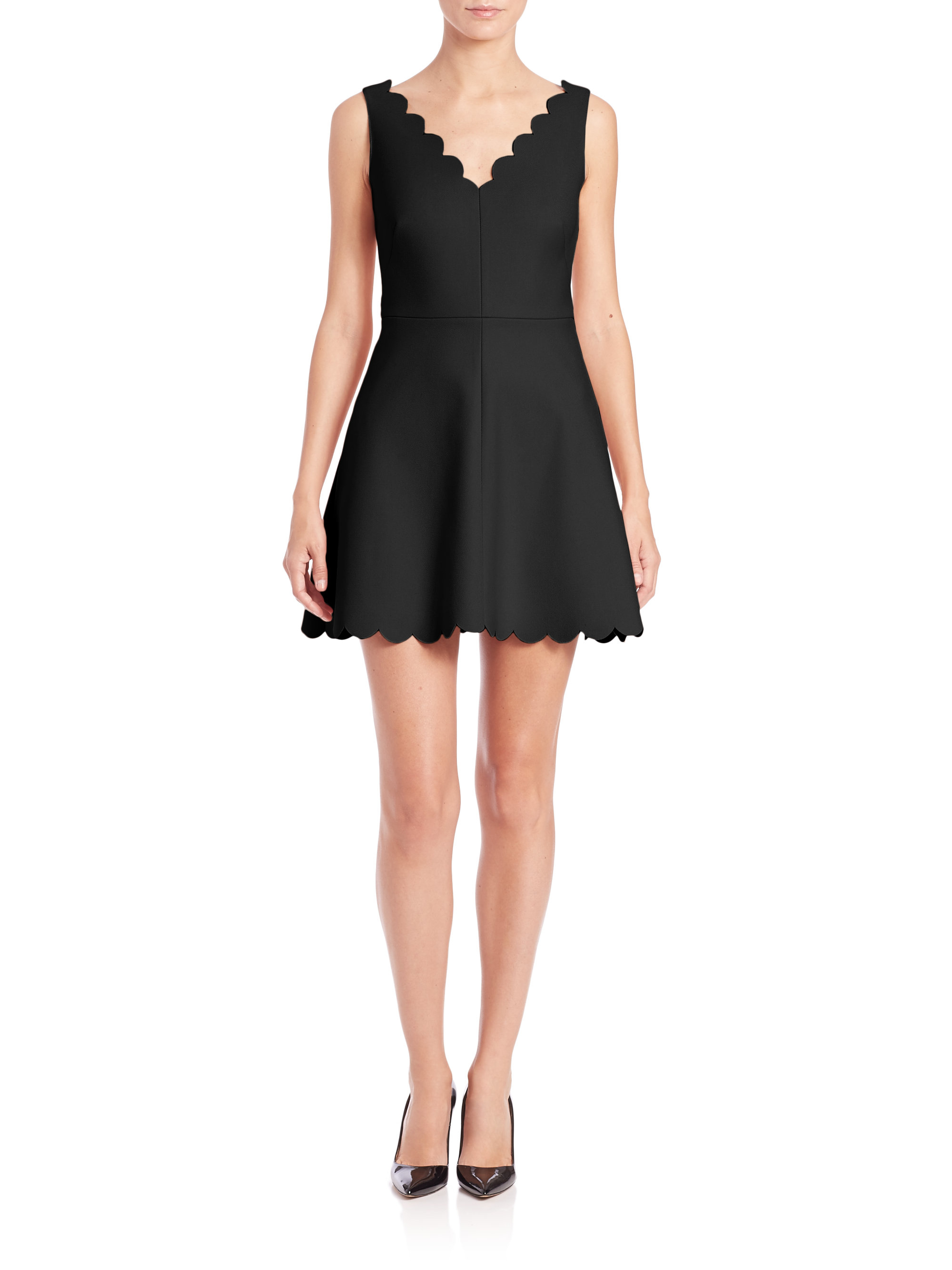 Lyst Red Valentino Scalloped Fit Amp Flare Dress In Black