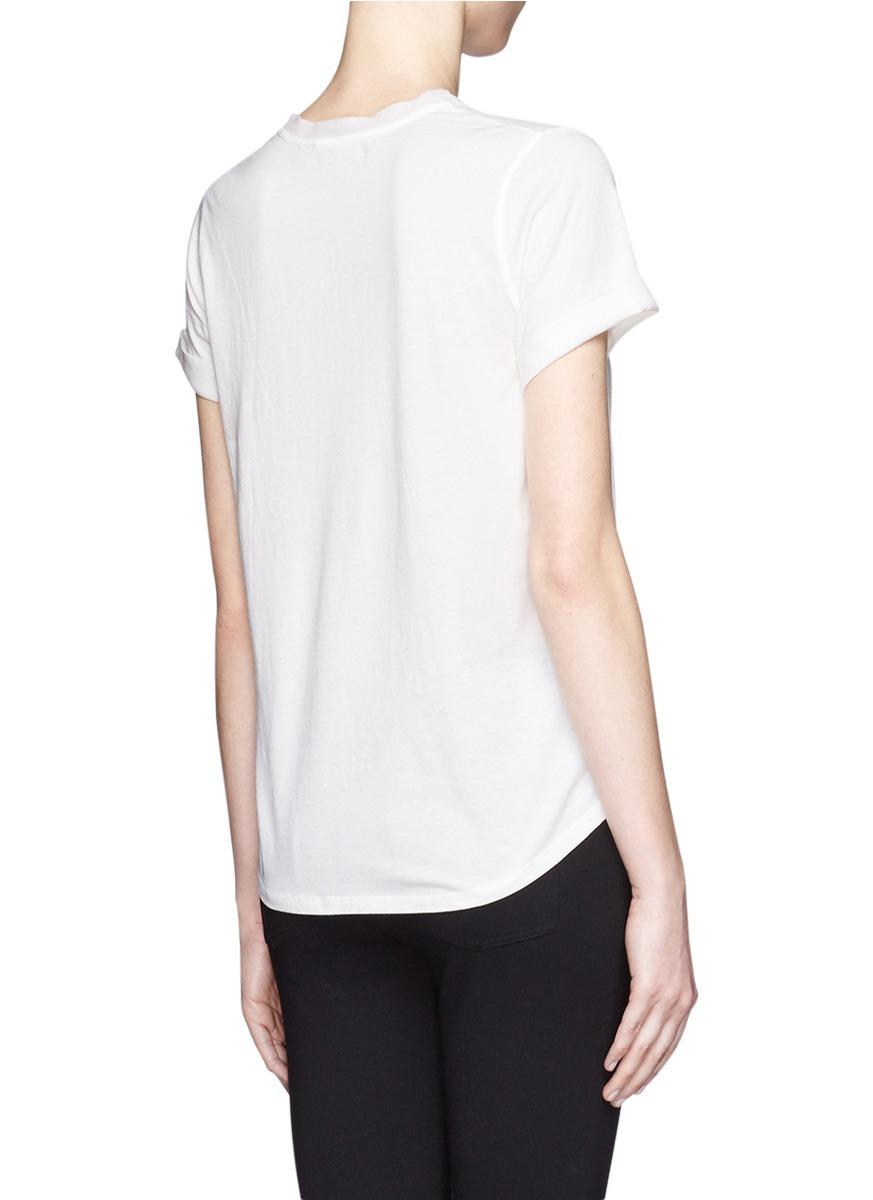 Lyst vince silk trim cotton t shirt in white for Silk white t shirt