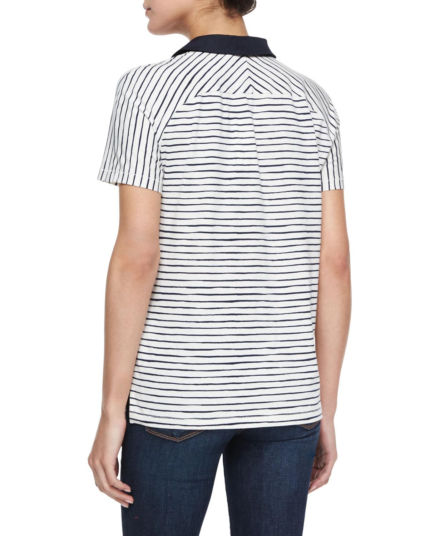 Tory Burch Short Sleeve Striped Polo Shirt In Black Tory