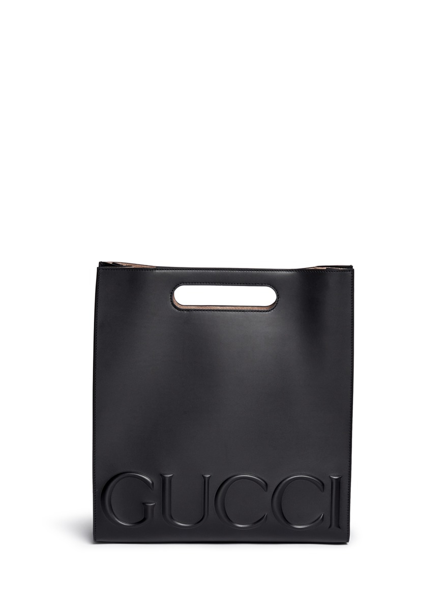 745f72721bdcc6 Gucci ' Xl' Large Logo Embossed Tote in Black - Lyst