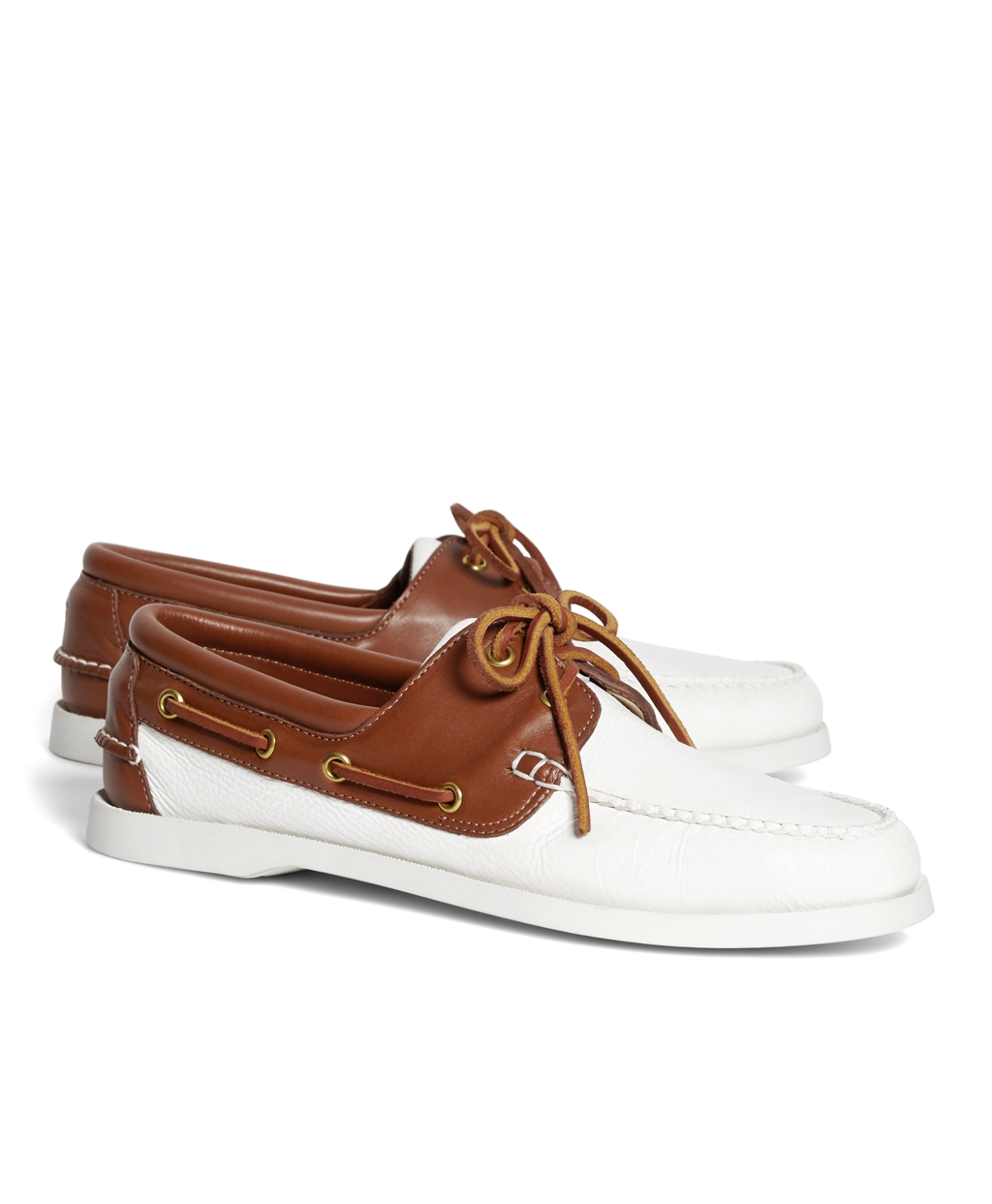 brothers leather boat shoes in white for lyst