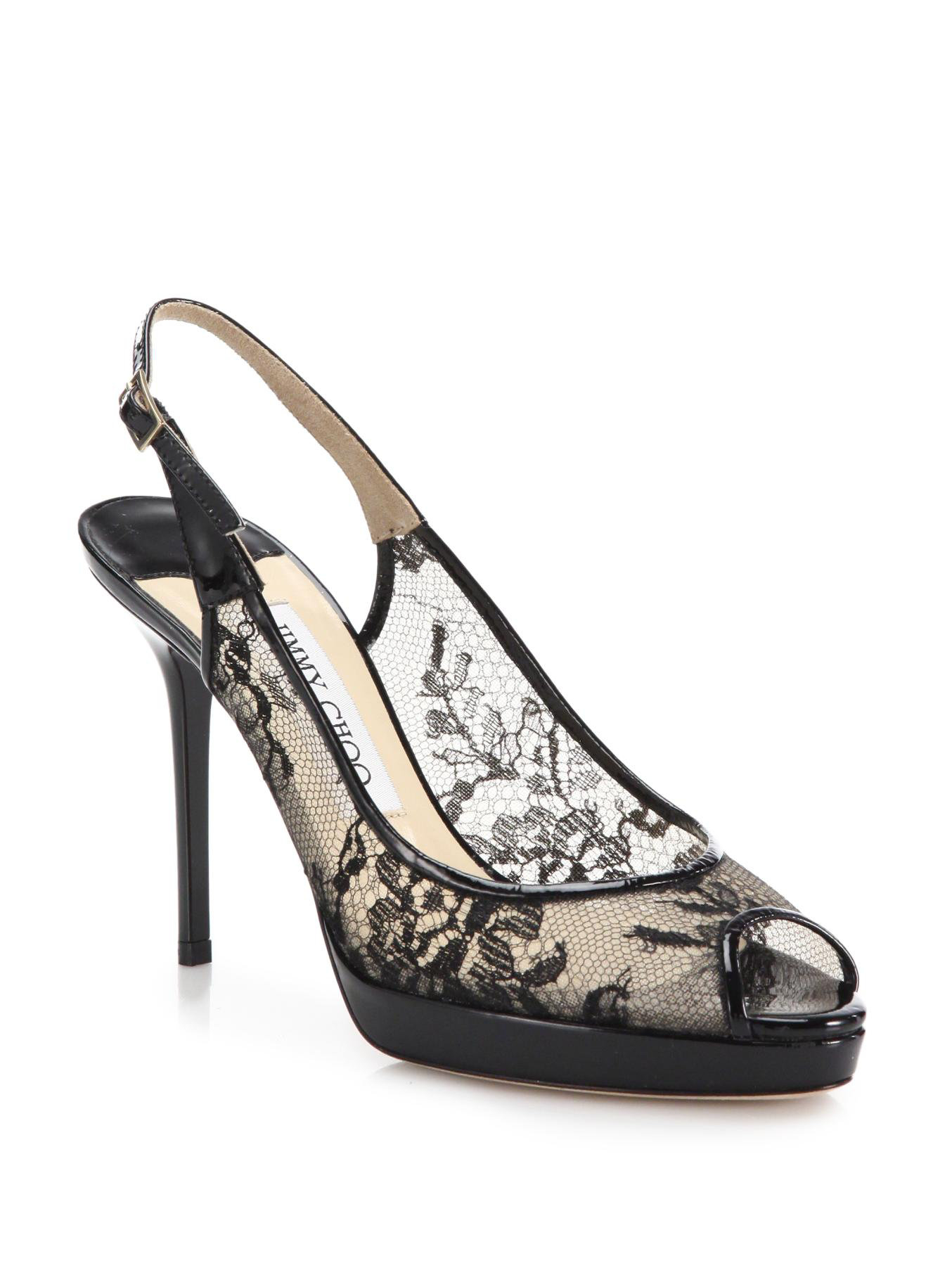 9240cfcb8ecb Jimmy choo Nova Lace Peep-toe Pumps in Black