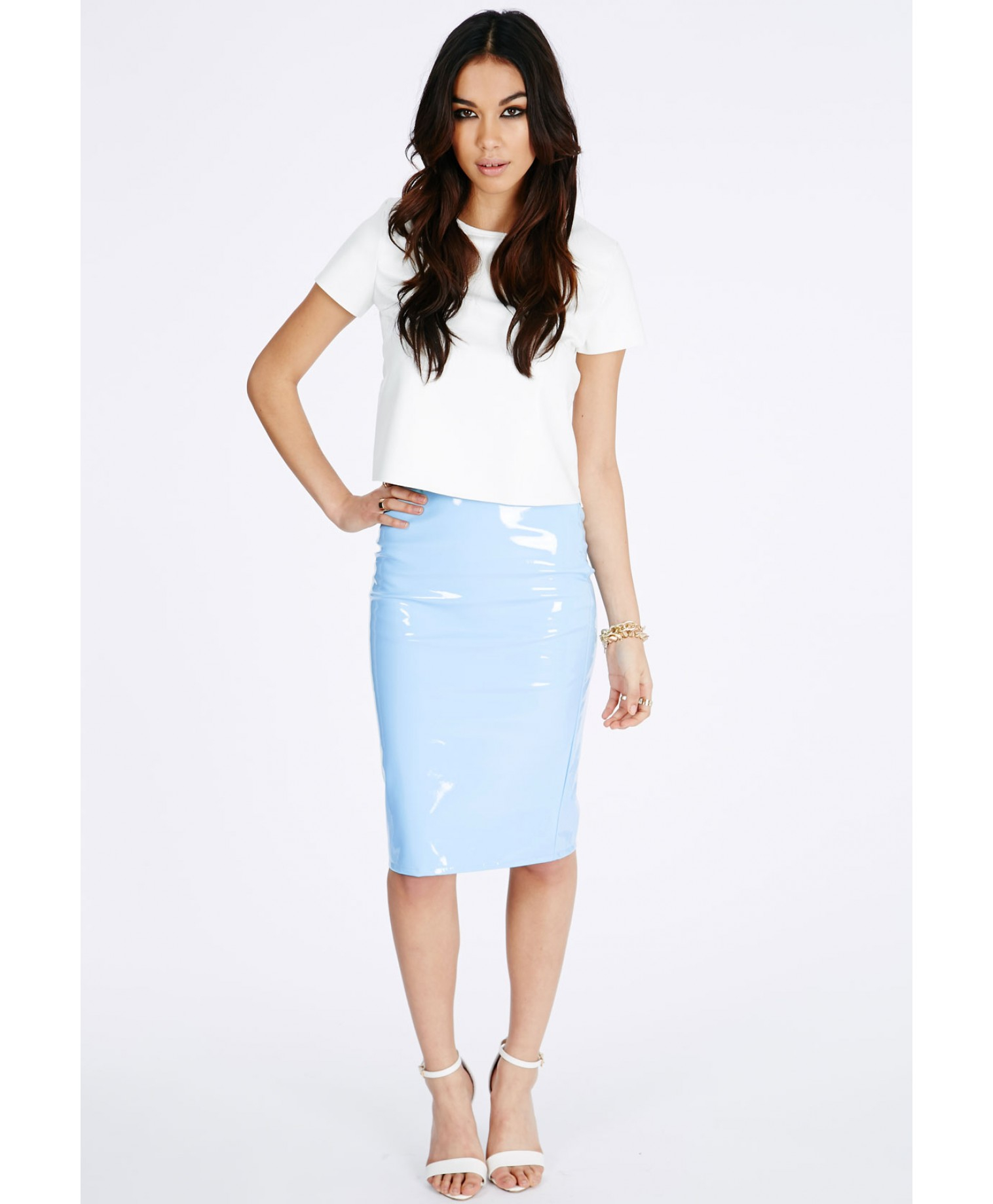 Missguided Mircia Pvc Midi Skirt In Baby Blue in Blue | Lyst