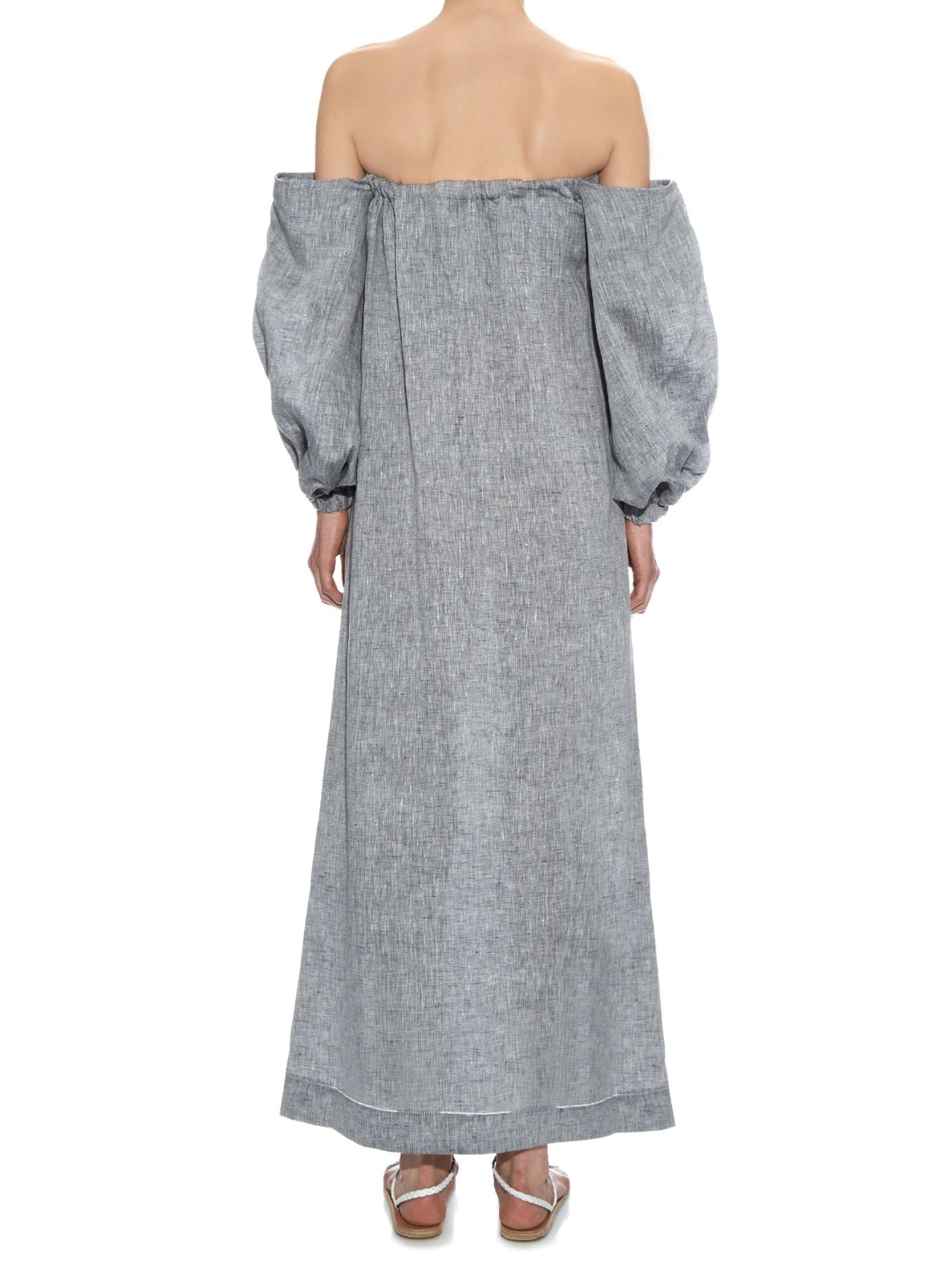 15f82c22cb Lyst - Lisa Marie Fernandez Rosie Off-the-shoulder Linen Dress in Gray