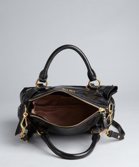 New Lyst - Miu Miu Black Leather Slouchy Crossbody Bag in Black ZP96 771640591aac3